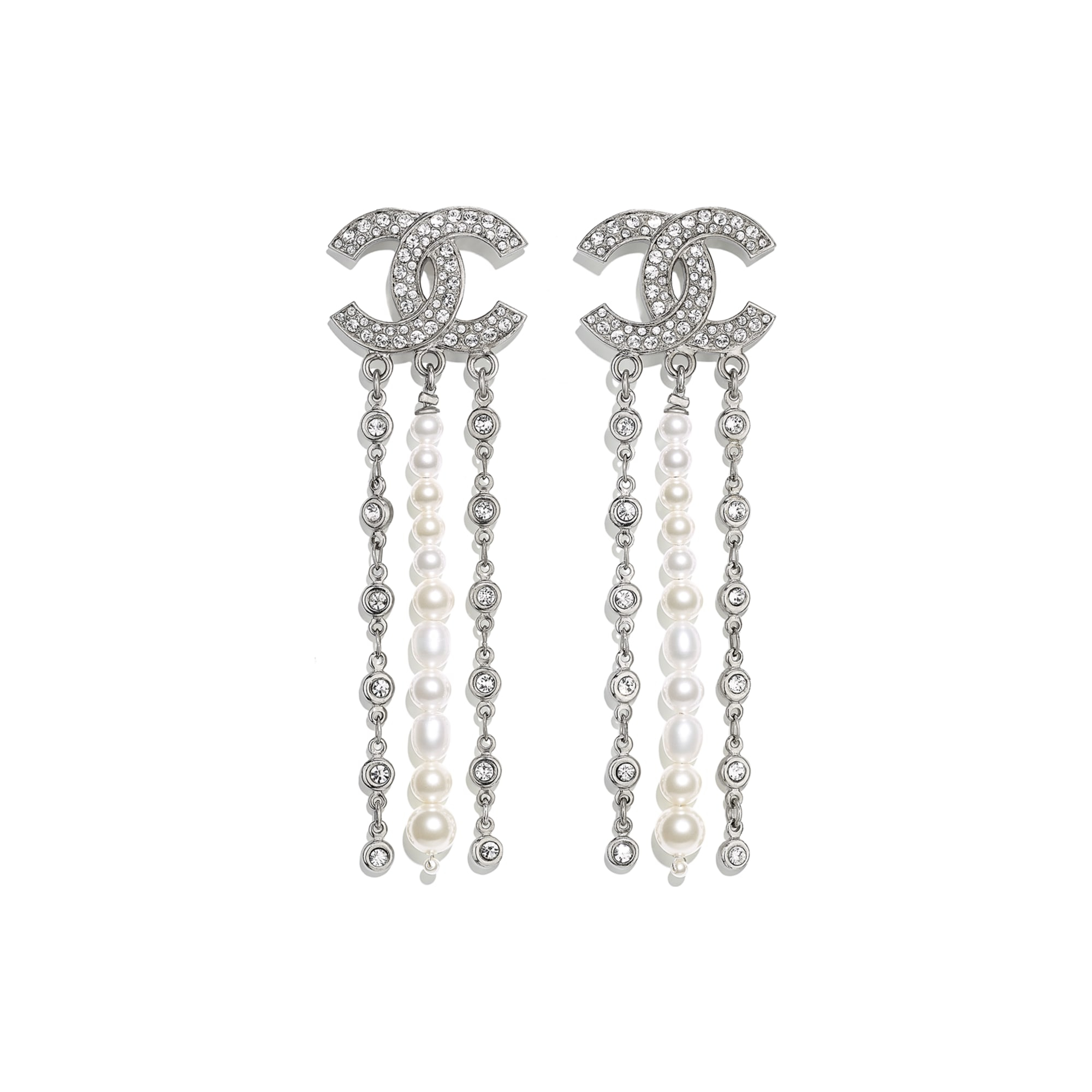 Earrings - Silver, Pearly White & Crystal - Metal, Cultured Freshwater Pearls, Glass Pearls & Strass - Default view - see standard sized version