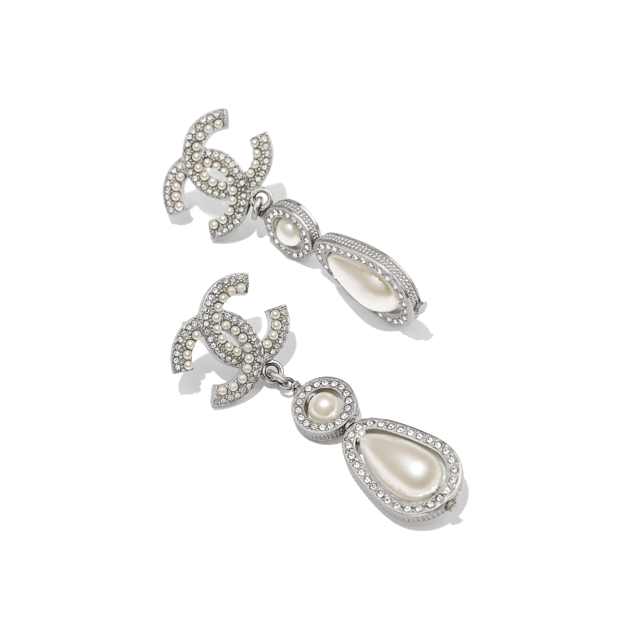 Earrings - Silver, Pearly White & Crystal - Metal, Glass Pearls & Diamantés - Alternative view - see standard sized version