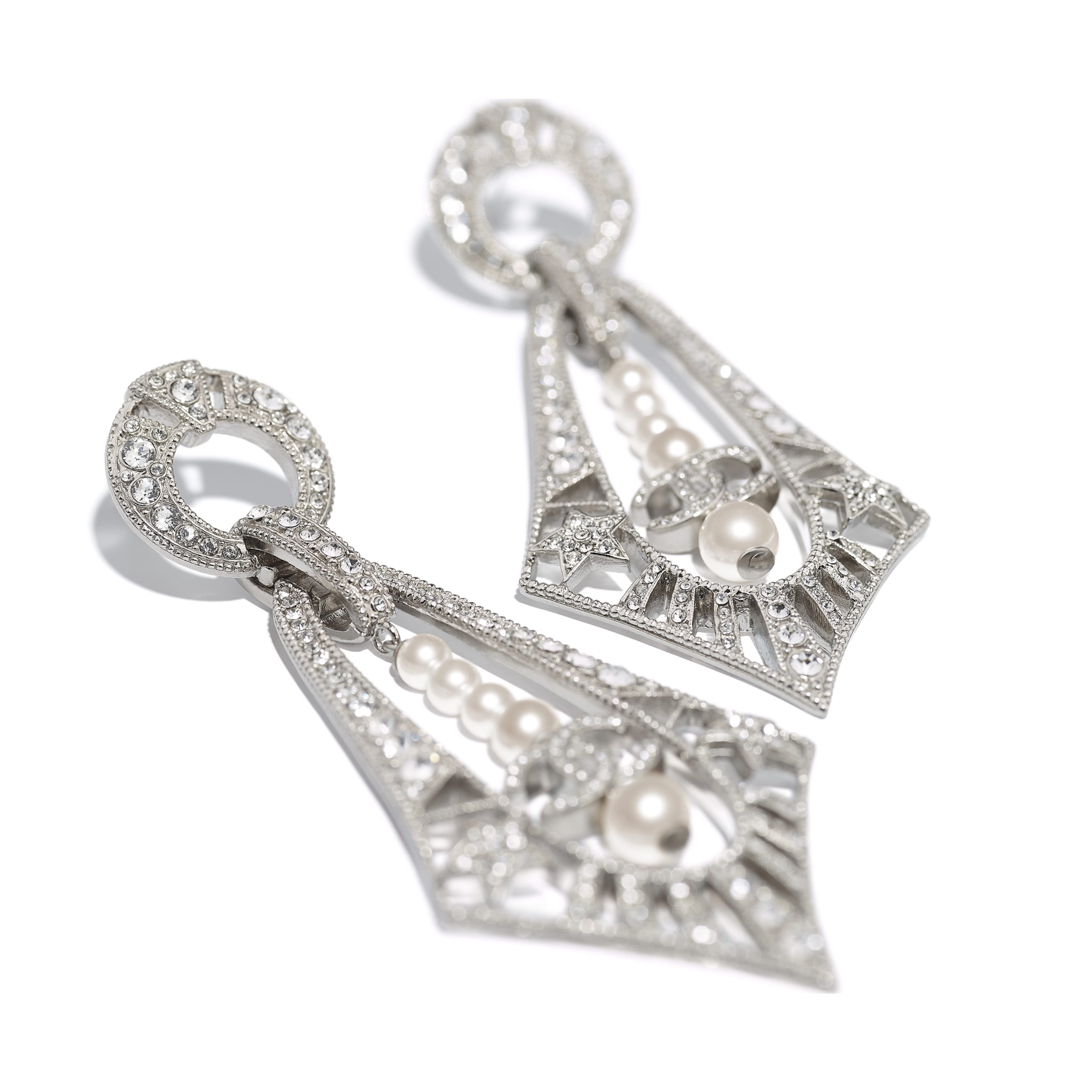 Earrings - Silver, Pearly White & Crystal - Metal, Glass Pearls & Strass - CHANEL - Alternative view - see standard sized version