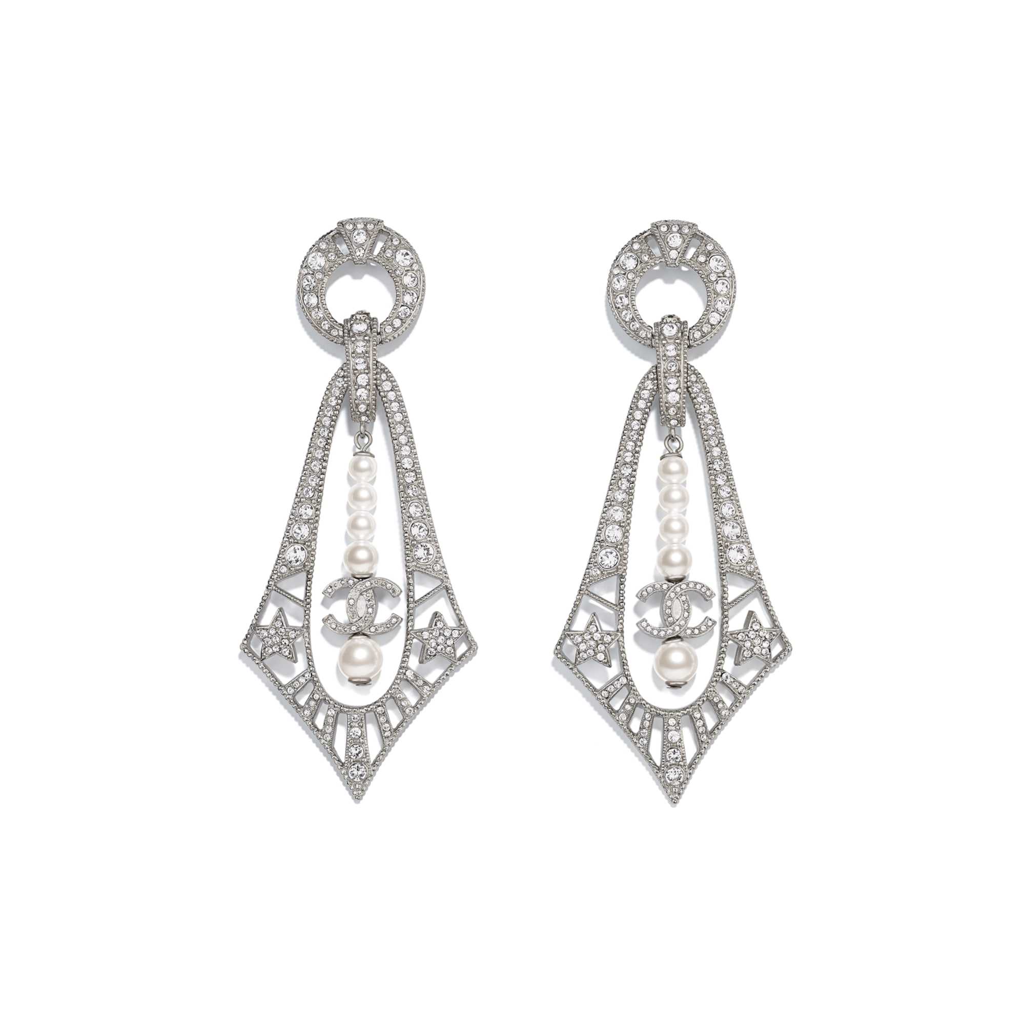 Earrings - Silver, Pearly White & Crystal - Metal, Glass Pearls & Strass - CHANEL - Default view - see standard sized version