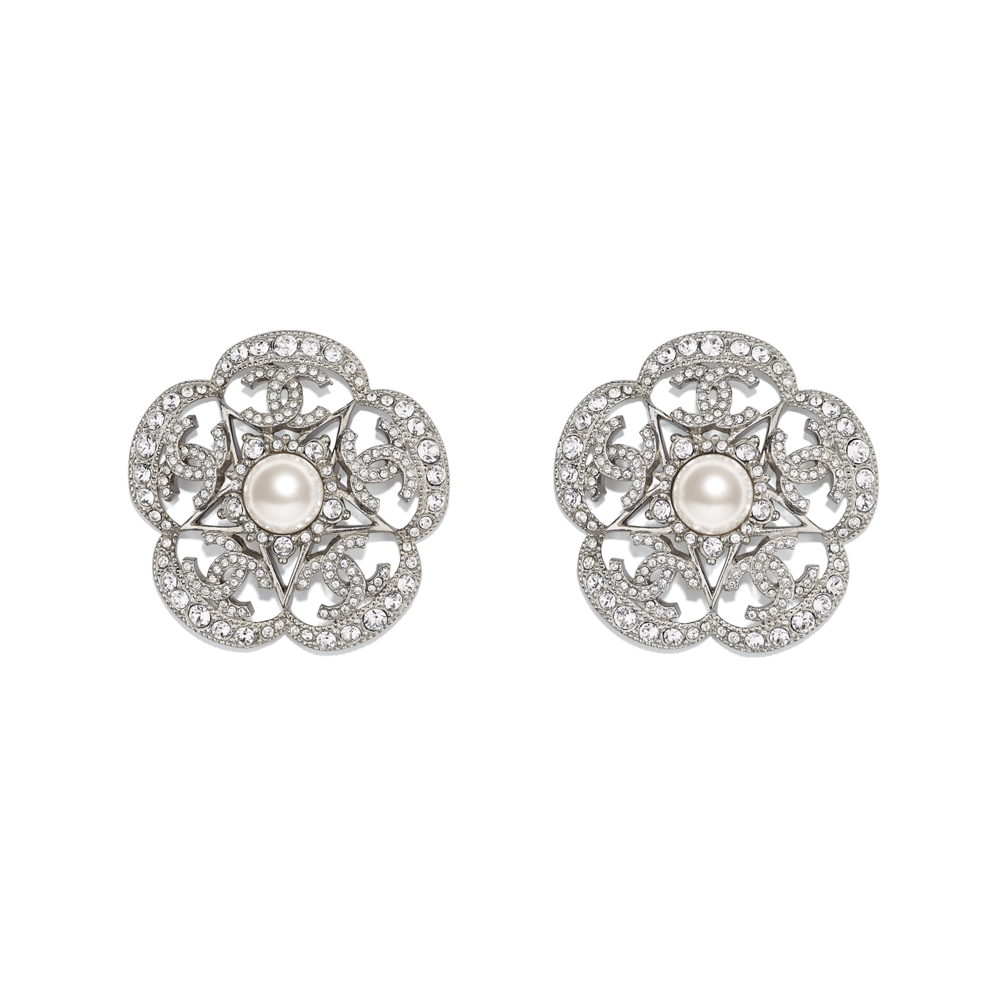 Earrings - Silver, Pearly White & Crystal - Metal, Glass Pearls & Diamantés - Default view - see standard sized version