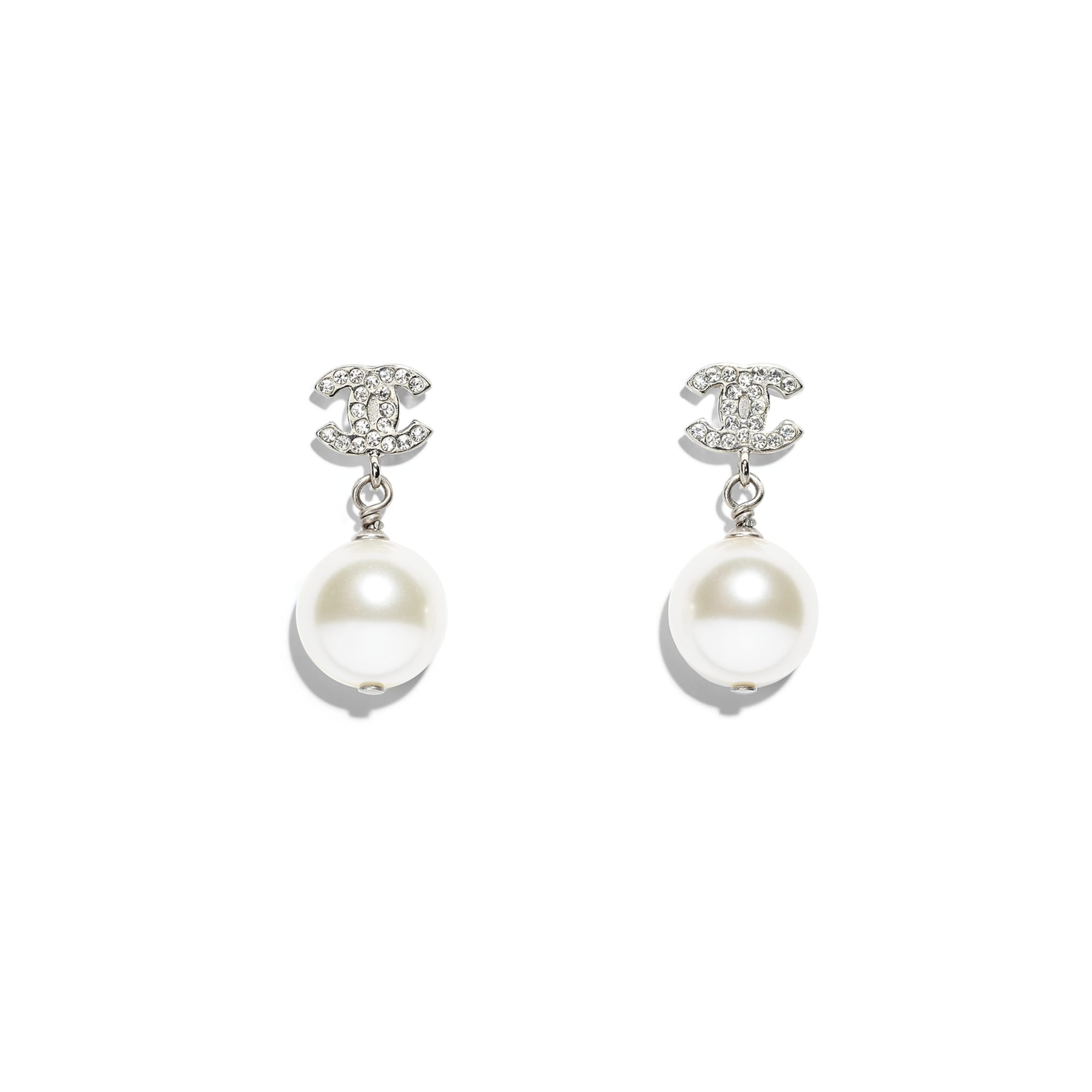 Earrings - Silver & Pearly White - Metal, Glass & Diamanté - Default view - see standard sized version