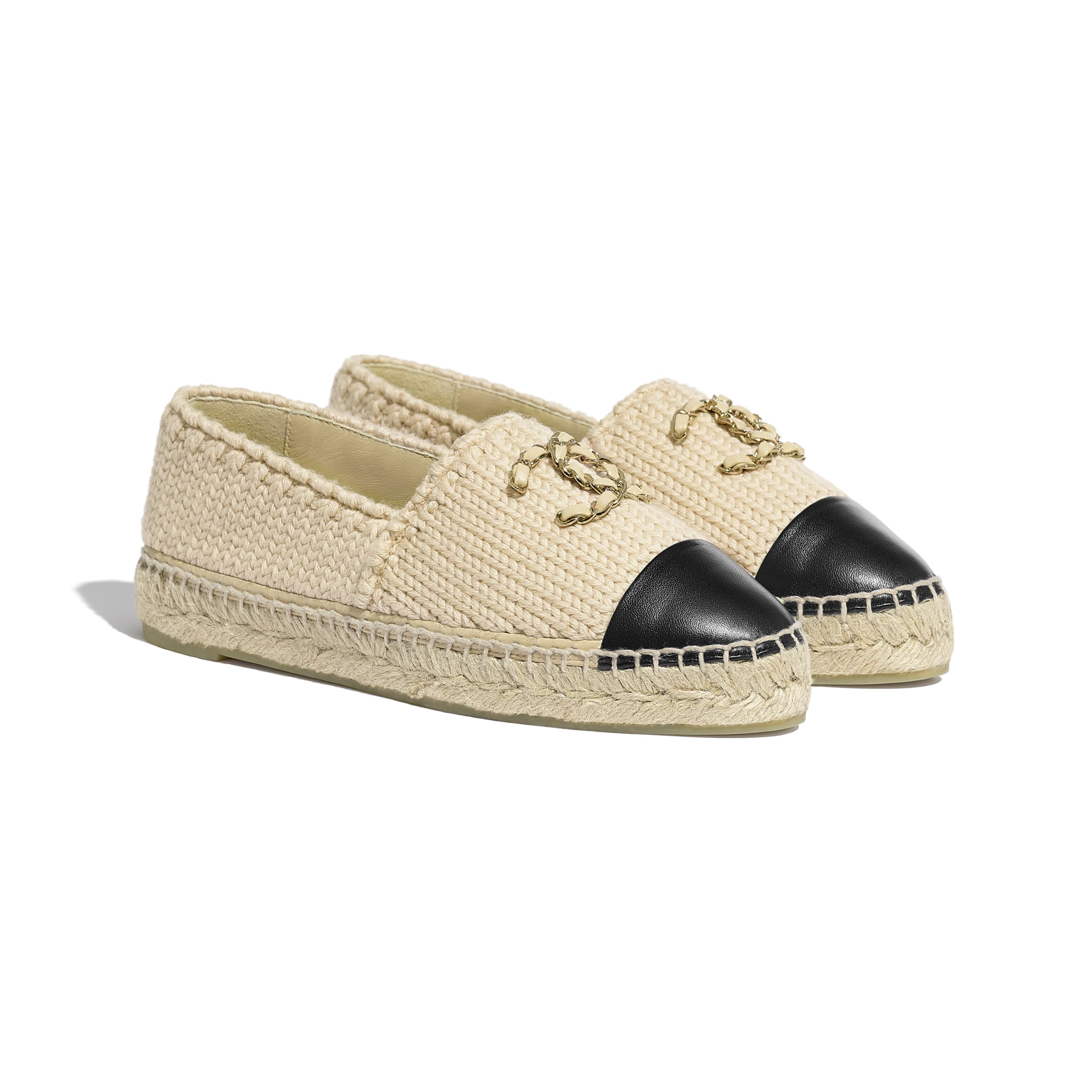Espadrilles - Beige & Black - Knitted Wool & Lambskin - CHANEL - Alternative view - see standard sized version