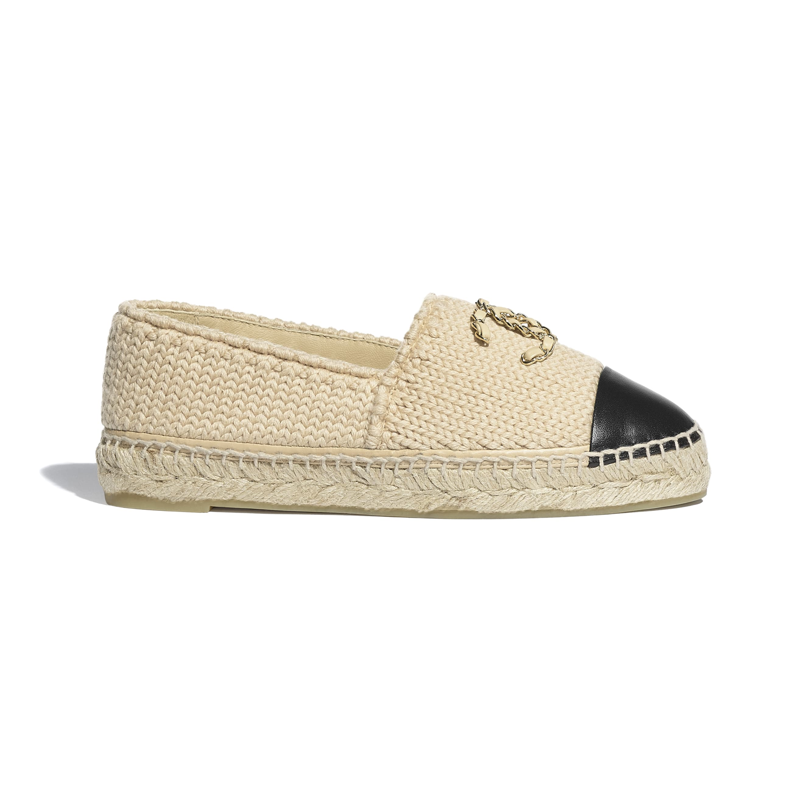 Espadrilles - Beige & Black - Knitted Wool & Lambskin - CHANEL - Default view - see standard sized version
