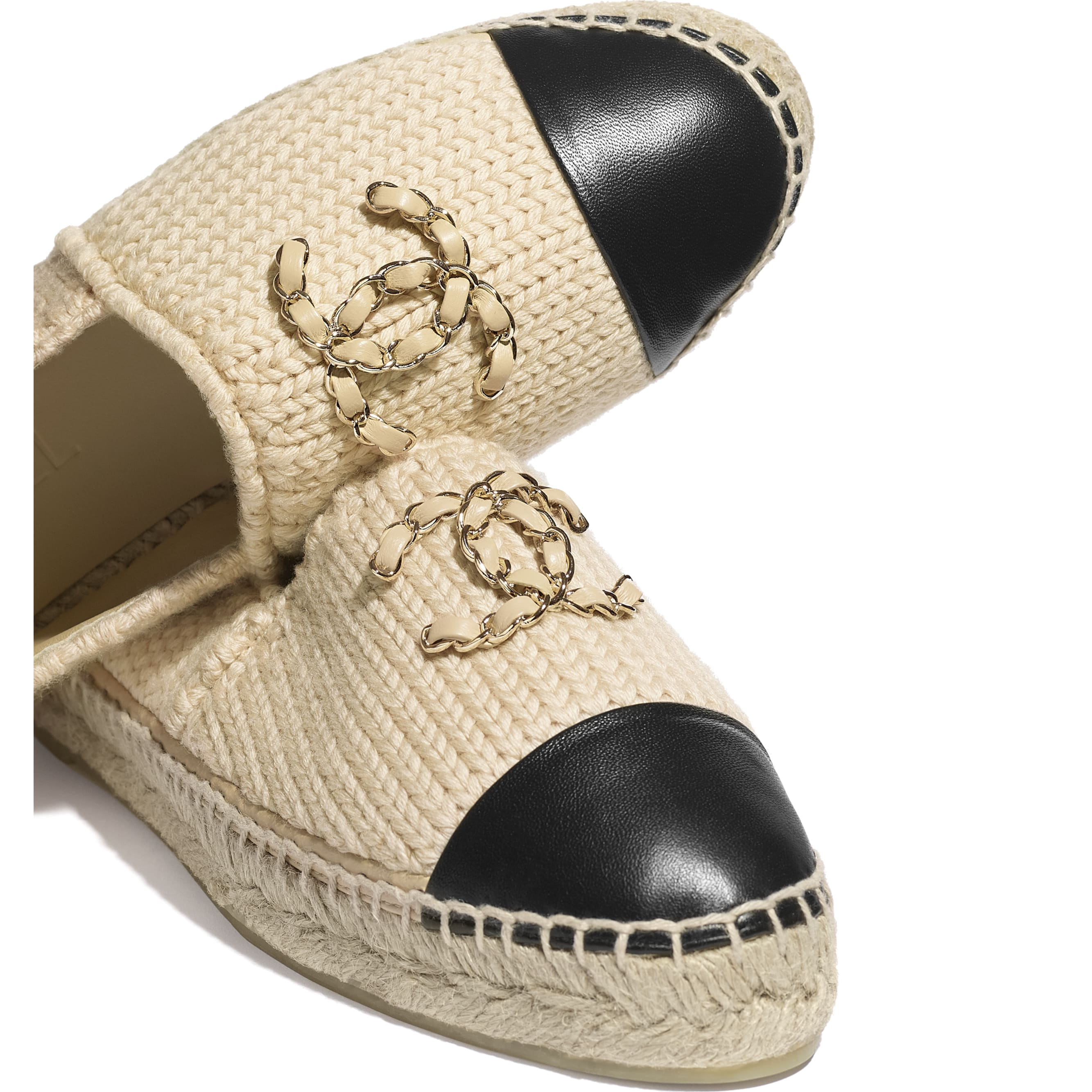 Espadrilles - Beige & Black - Knitted Wool & Lambskin - CHANEL - Extra view - see standard sized version