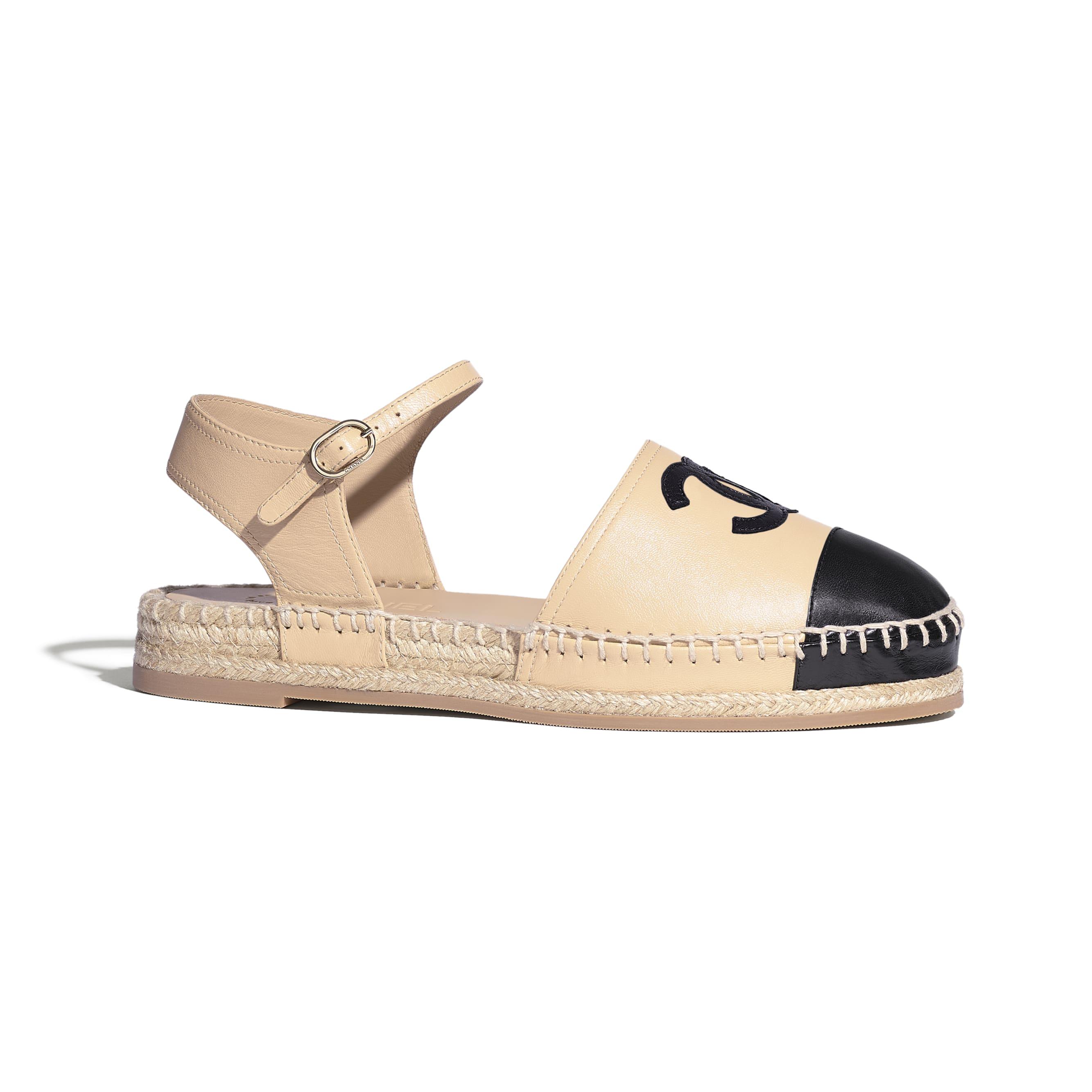 草編鞋 - 米與黑 - 小羊皮 - 預設視圖 - 查看標準尺寸版本