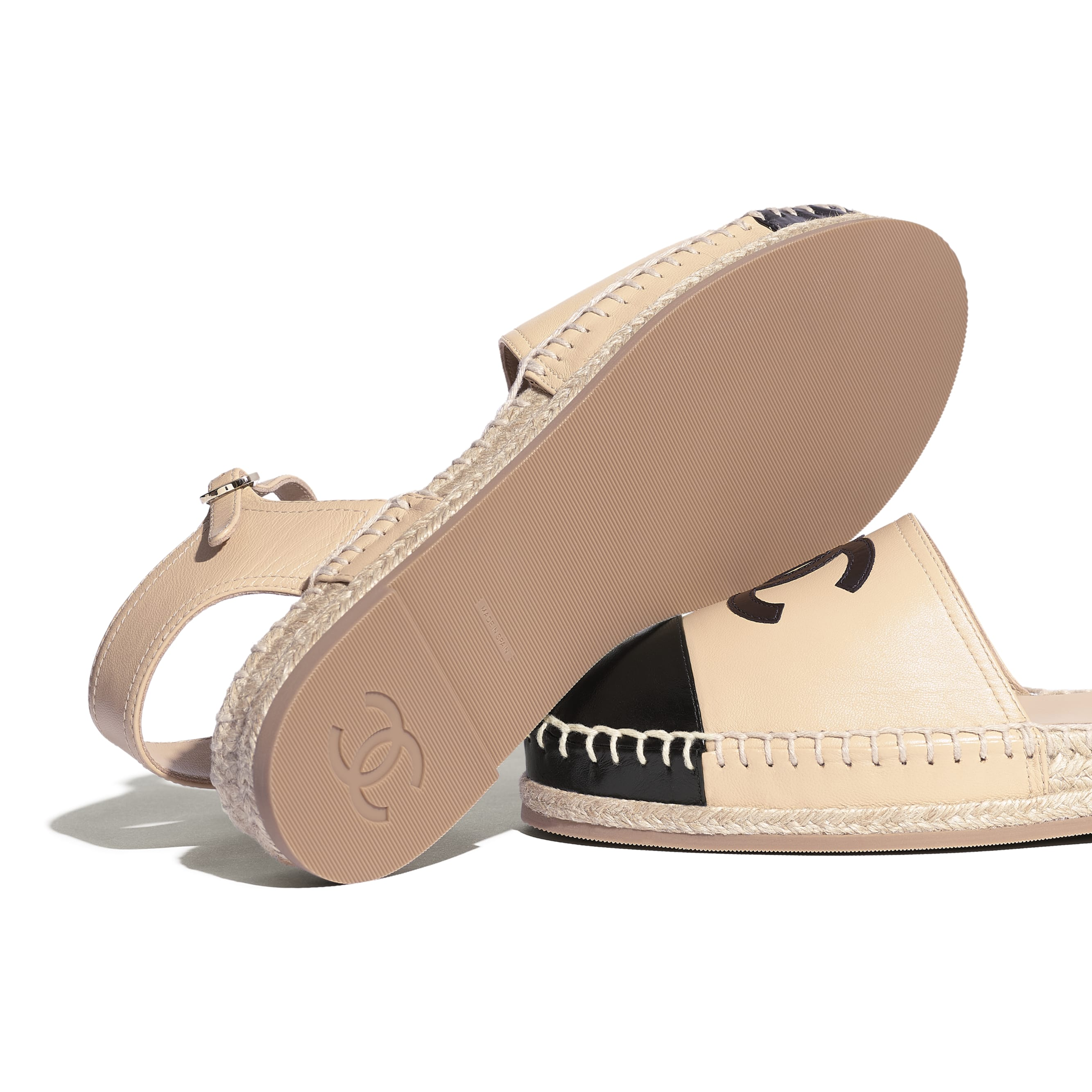 Espadrilles - Beige & Black - Lambskin - Extra view - see standard sized version