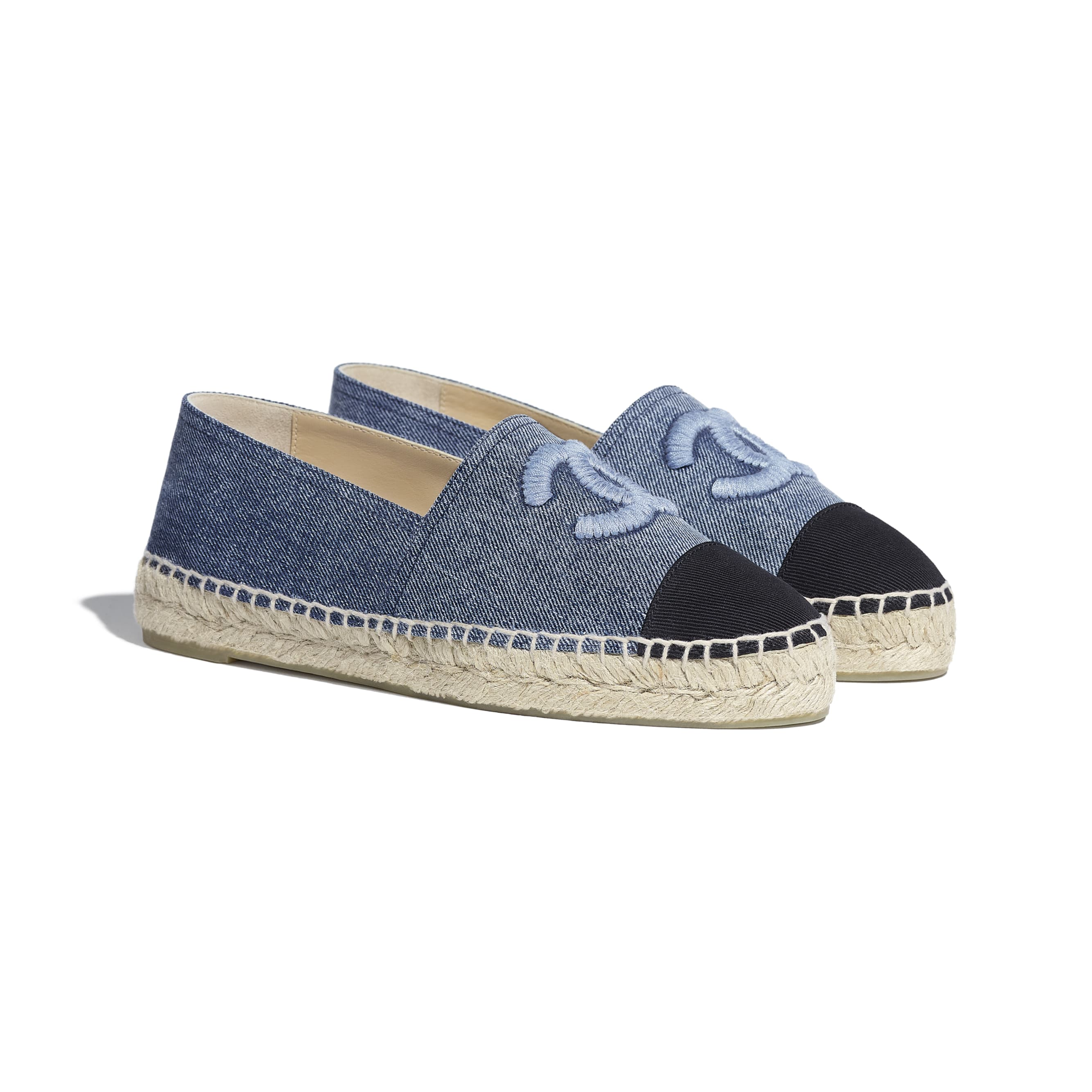 Espadrilles - Blue & Black - Denim - CHANEL - Alternative view - see standard sized version