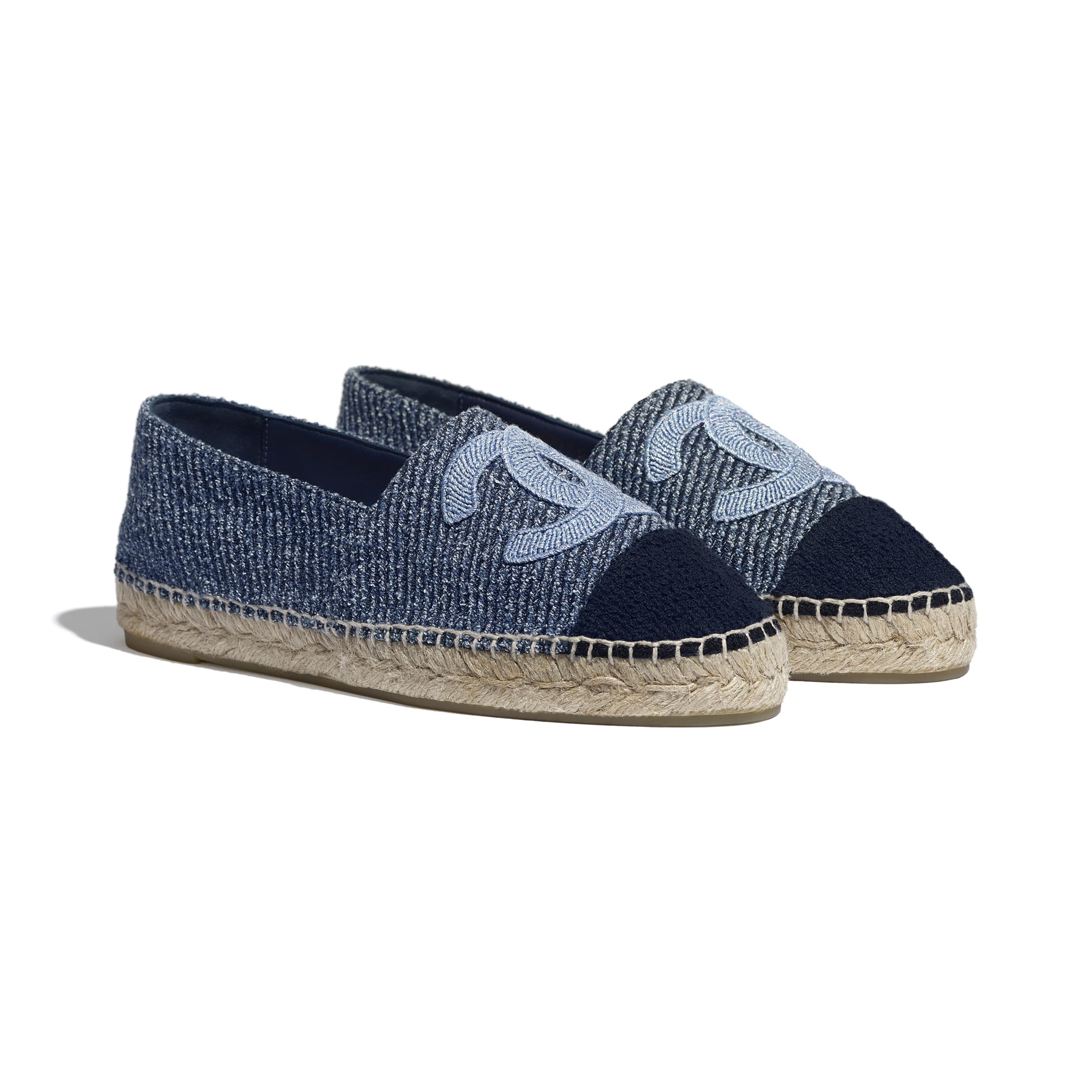 Espadrilles - Blue, Ecru & Black - Cotton Tweed - CHANEL - Alternative view - see standard sized version