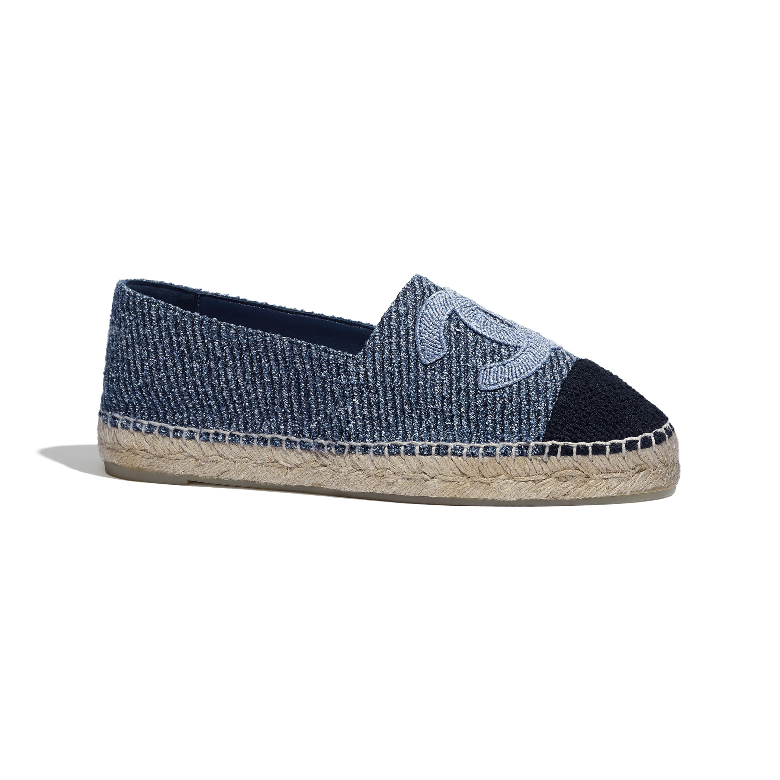 Espadrilles - Blue, Ecru & Black - Cotton Tweed - CHANEL - Default view - see standard sized version