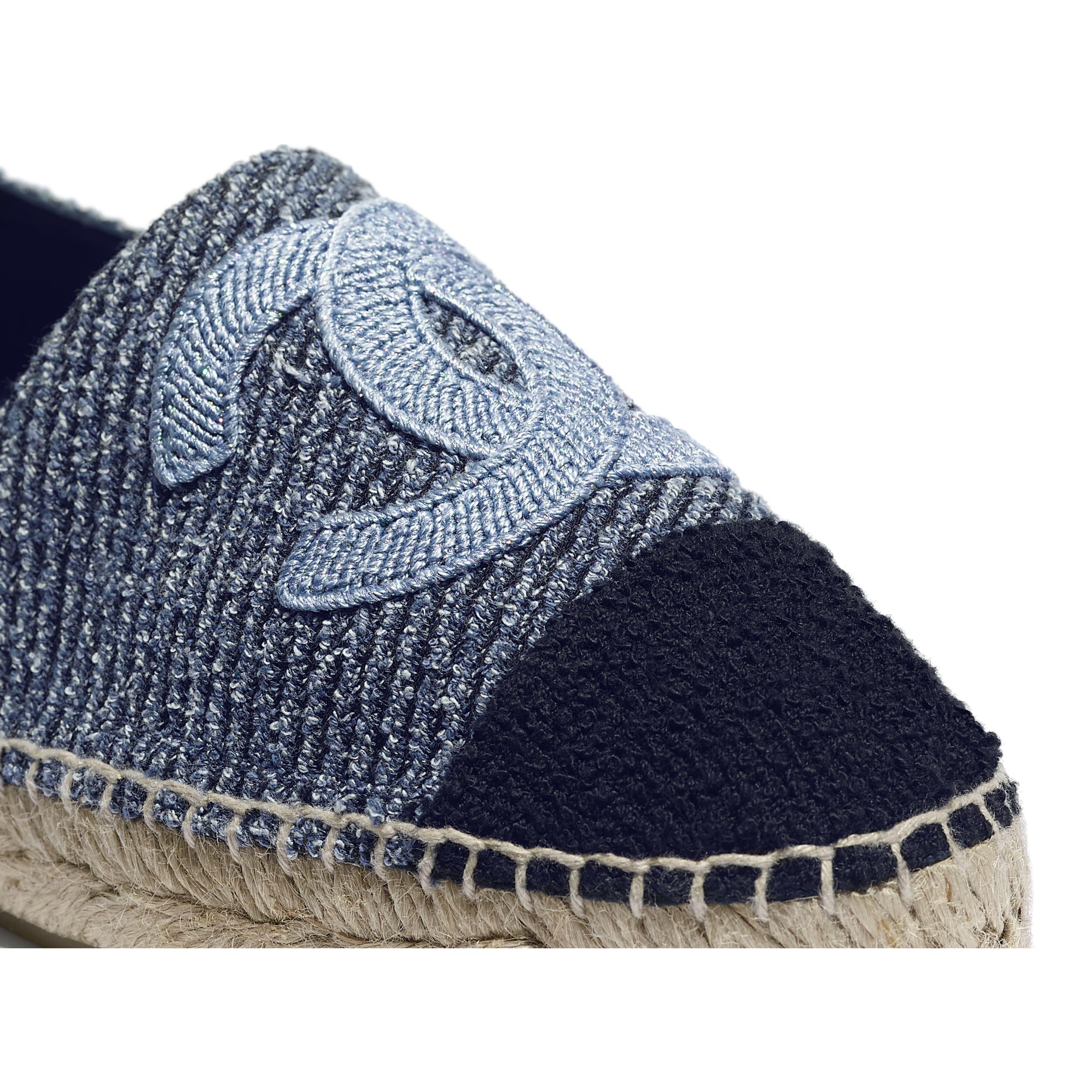 Espadrilles - Blue, Ecru & Black - Cotton Tweed - CHANEL - Extra view - see standard sized version