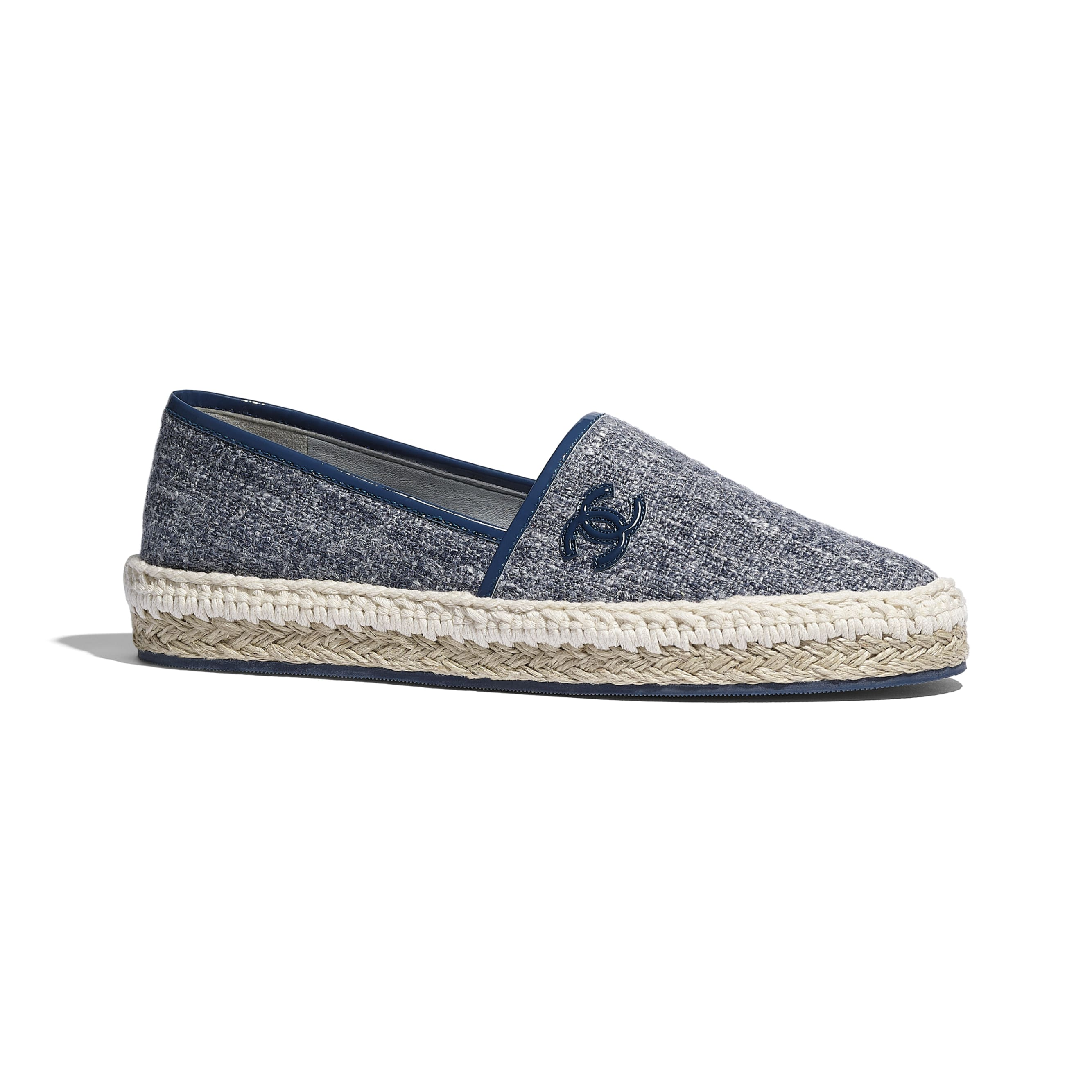 Espadrilles - Blue & Gray - Fabric & Patent Calfskin - CHANEL - Default view - see standard sized version