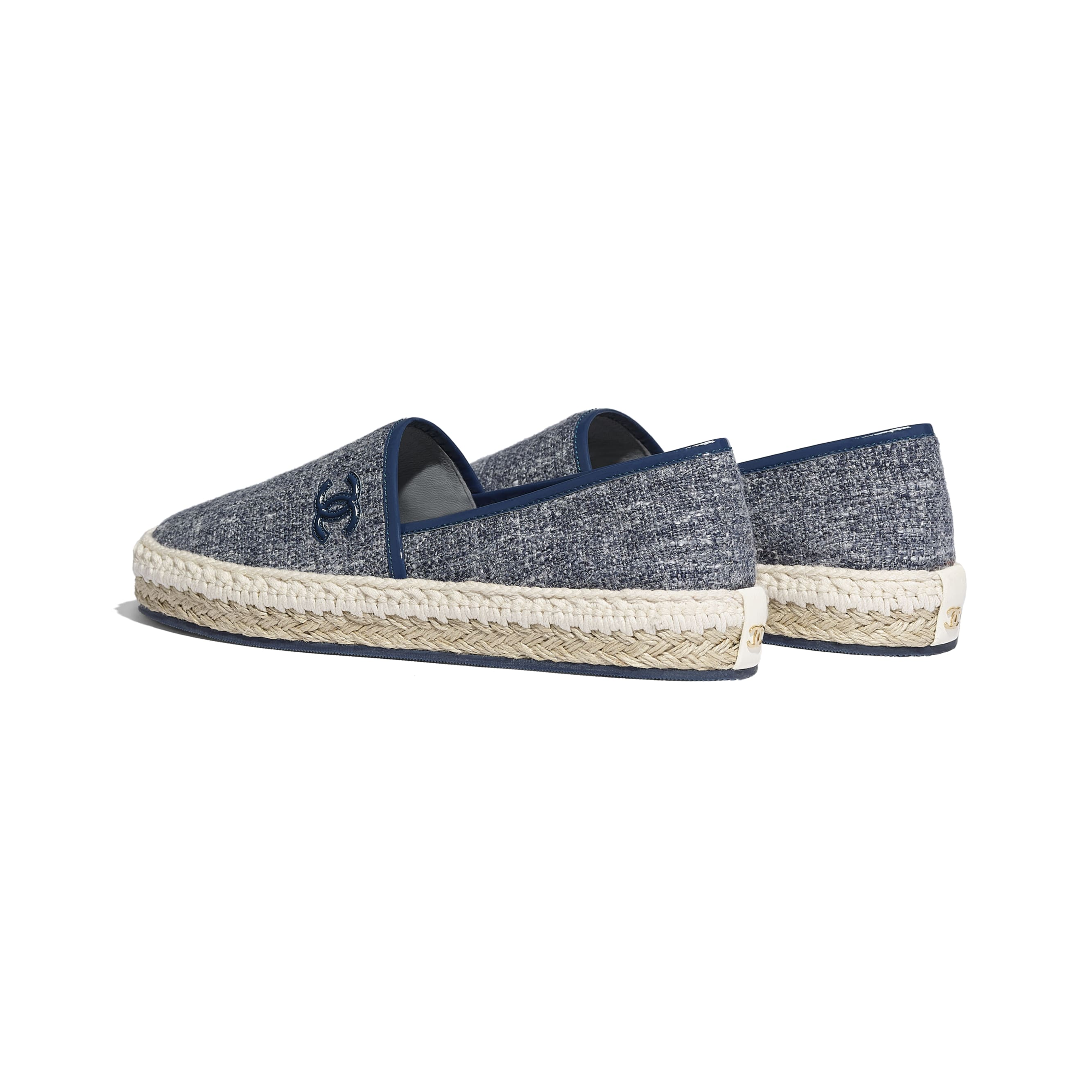 Espadrilles - Blue & Gray - Fabric & Patent Calfskin - CHANEL - Other view - see standard sized version