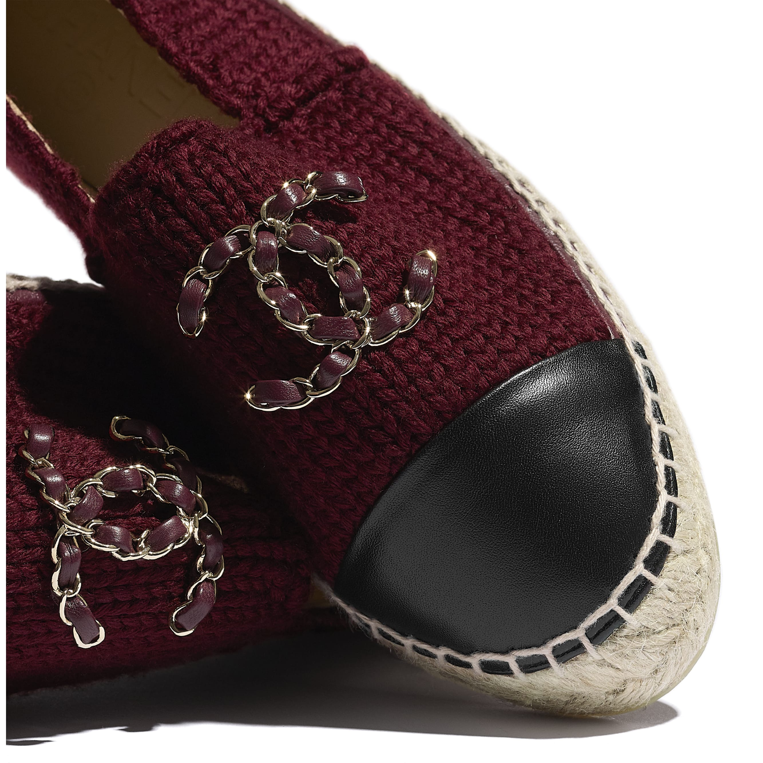 Espadrilles - Burgundy & Black - Knitted Wool & Lambskin - CHANEL - Extra view - see standard sized version