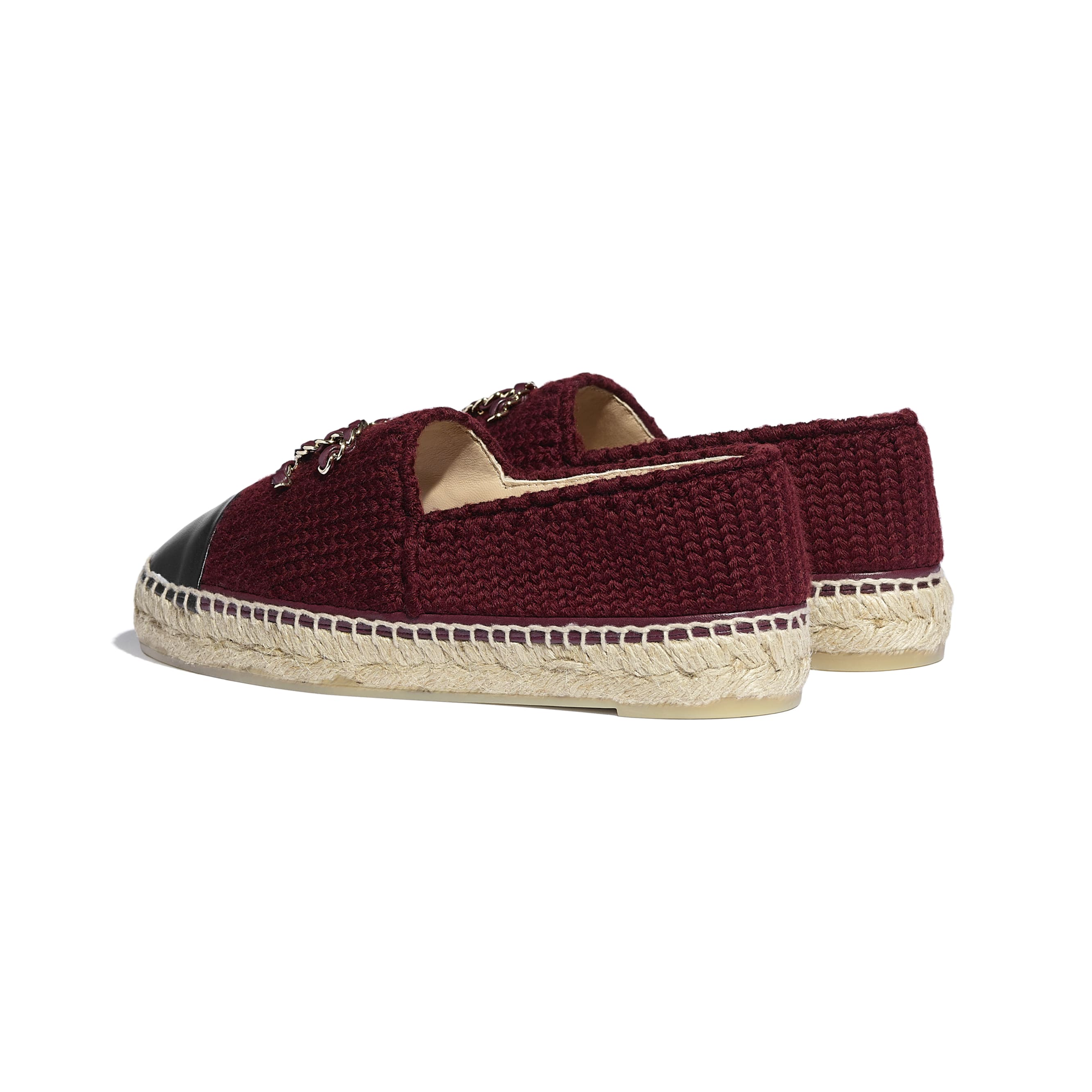 Espadrilles - Burgundy & Black - Knitted Wool & Lambskin - CHANEL - Other view - see standard sized version