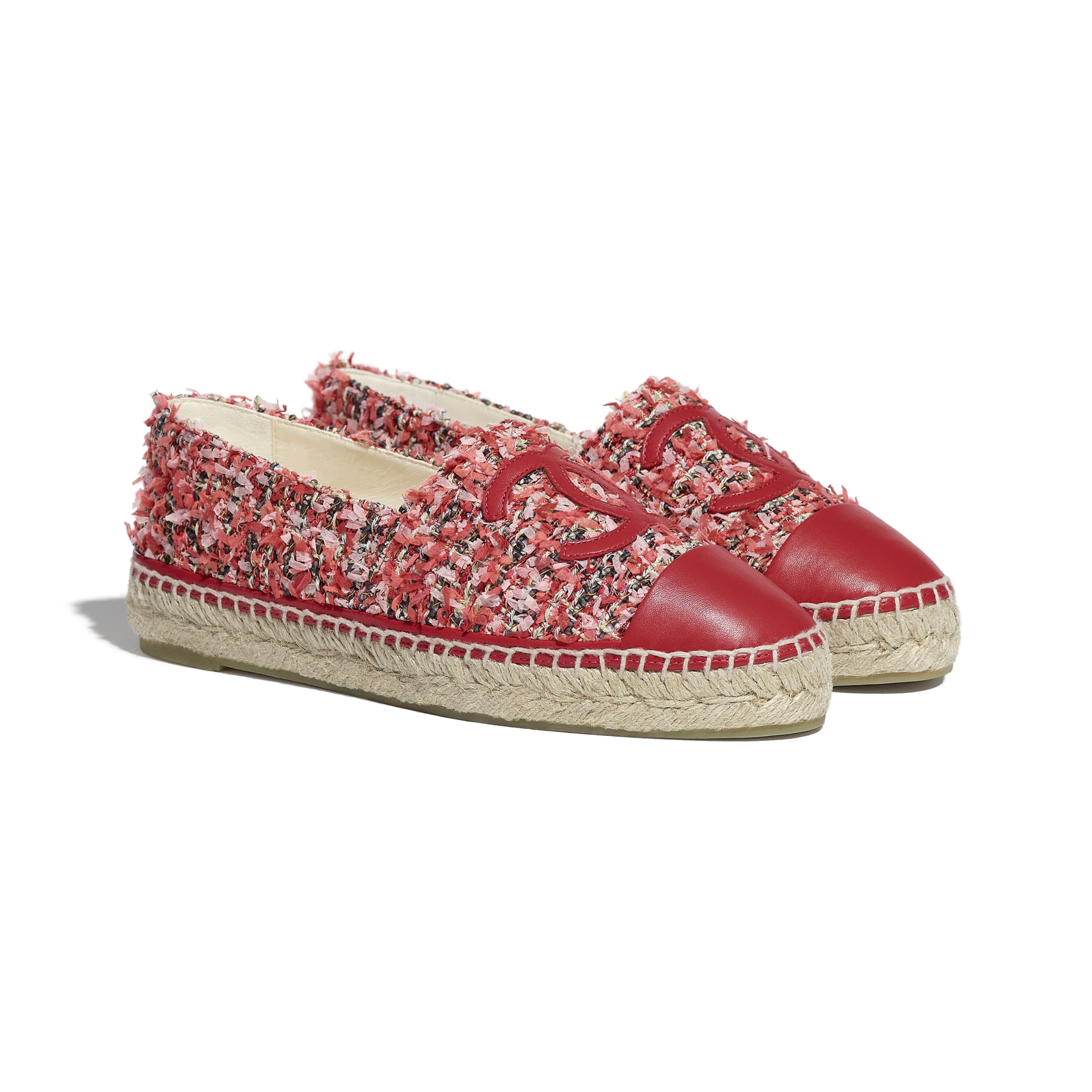 Espadrilles - Coral, Pink, Black & Red - Tweed & Lambskin - CHANEL - Alternative view - see standard sized version
