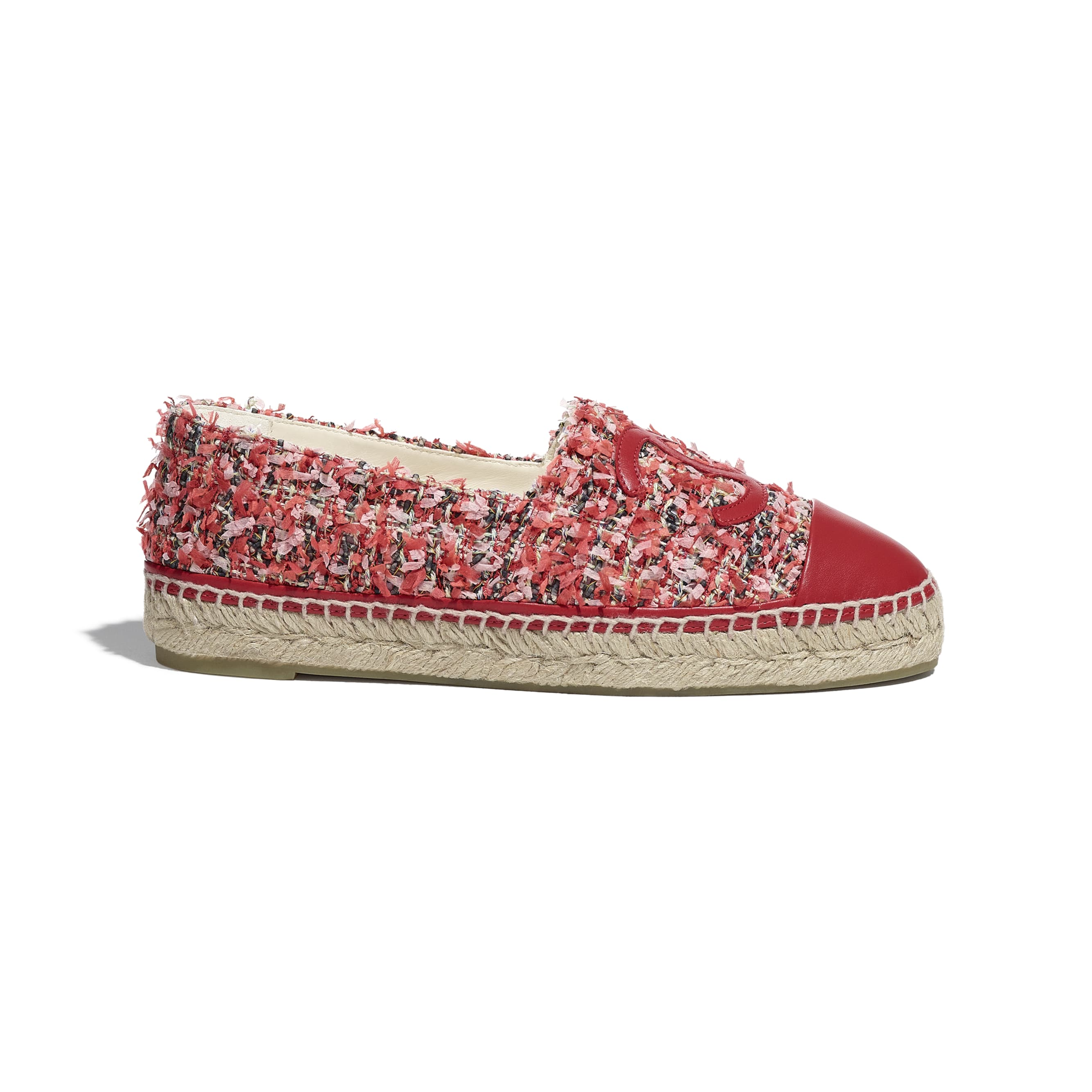 Espadrilles - Coral, Pink, Black & Red - Tweed & Lambskin - CHANEL - Default view - see standard sized version