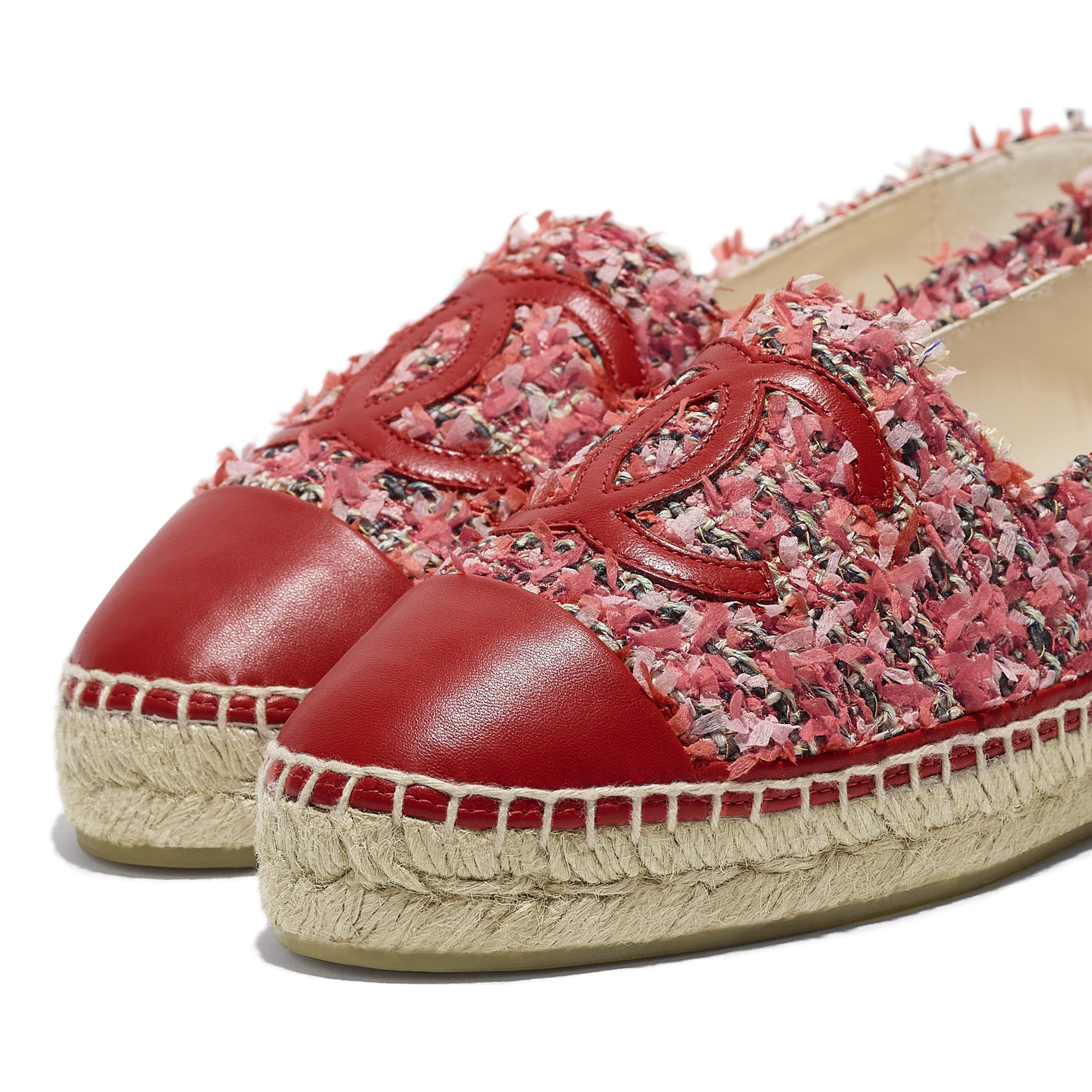 Espadrilles - Coral, Pink, Black & Red - Tweed & Lambskin - CHANEL - Extra view - see standard sized version