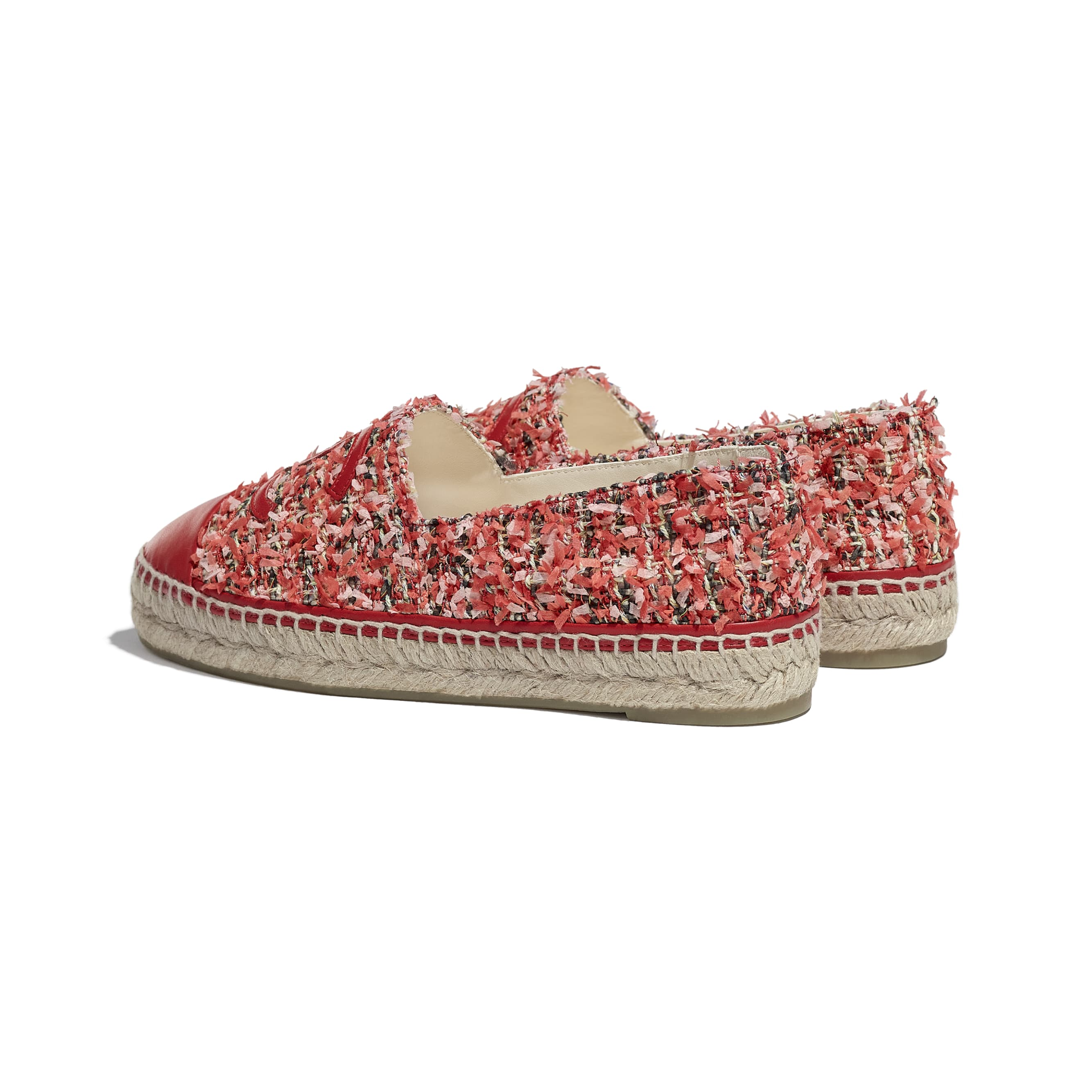 Espadrilles - Coral, Pink, Black & Red - Tweed & Lambskin - CHANEL - Other view - see standard sized version