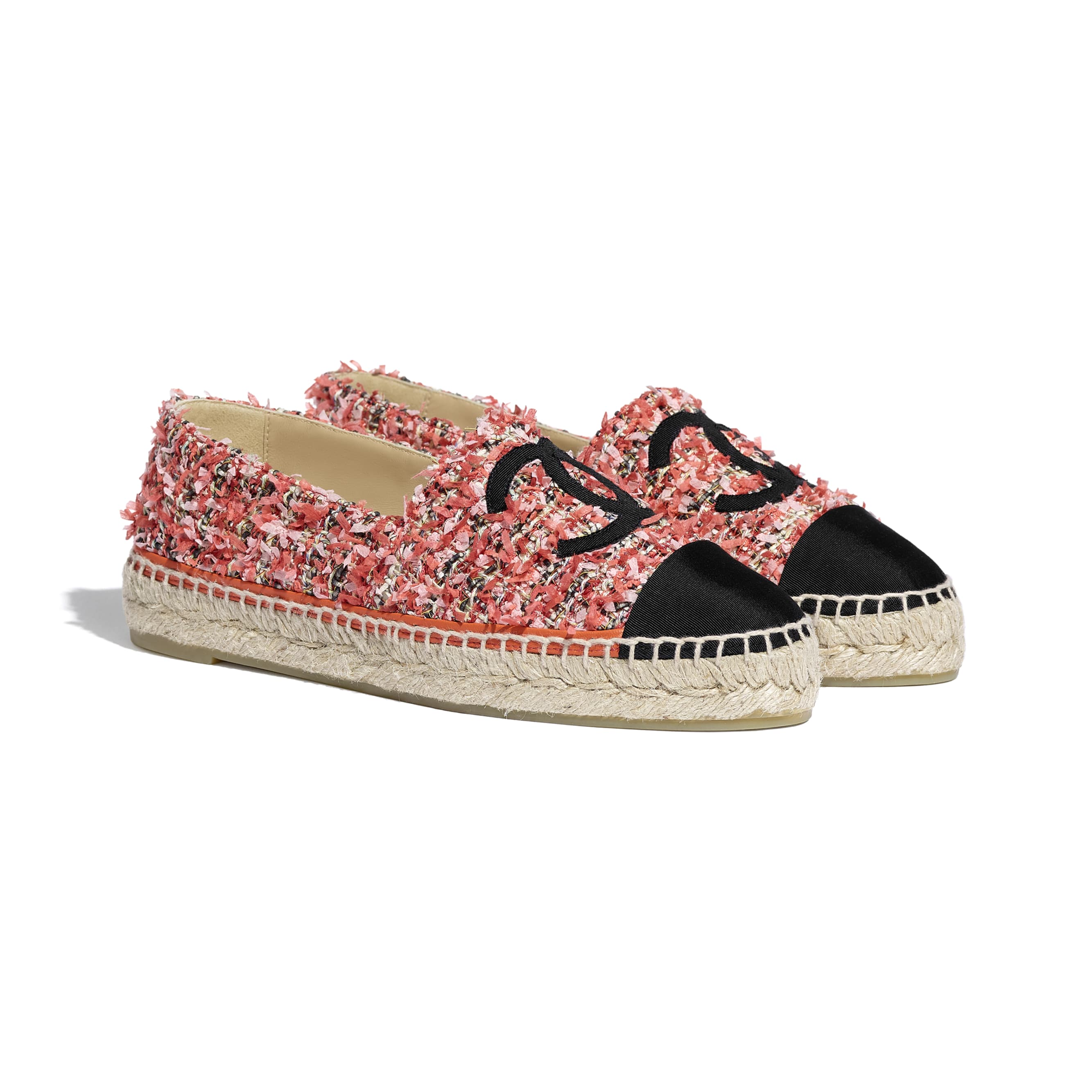 Espadrilles - Coral, Red, Pink & Black - Tweed & Grosgrain - CHANEL - Alternative view - see standard sized version