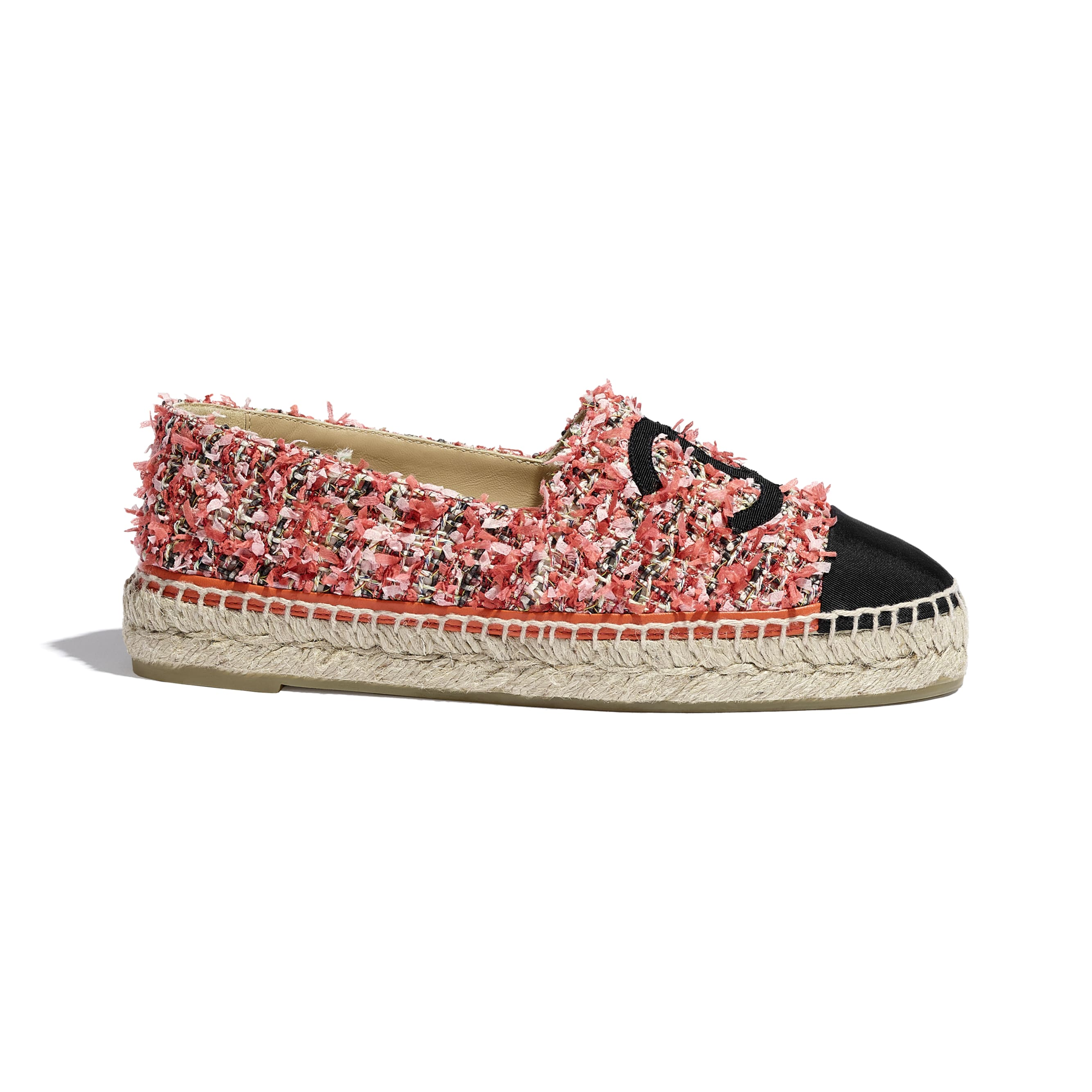 Espadrilles - Coral, Red, Pink & Black - Tweed & Grosgrain - CHANEL - Default view - see standard sized version