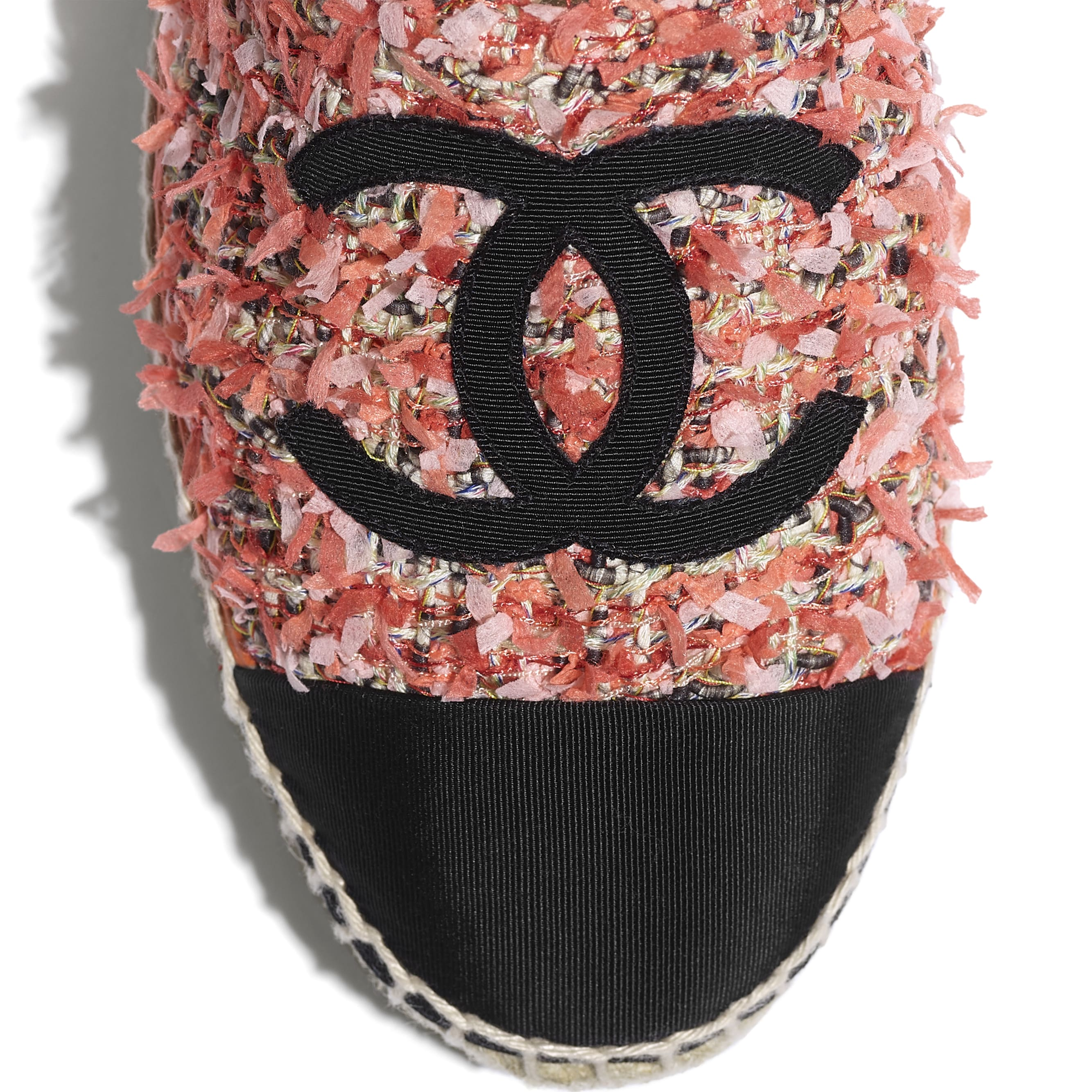 Espadrilles - Coral, Red, Pink & Black - Tweed & Grosgrain - CHANEL - Extra view - see standard sized version