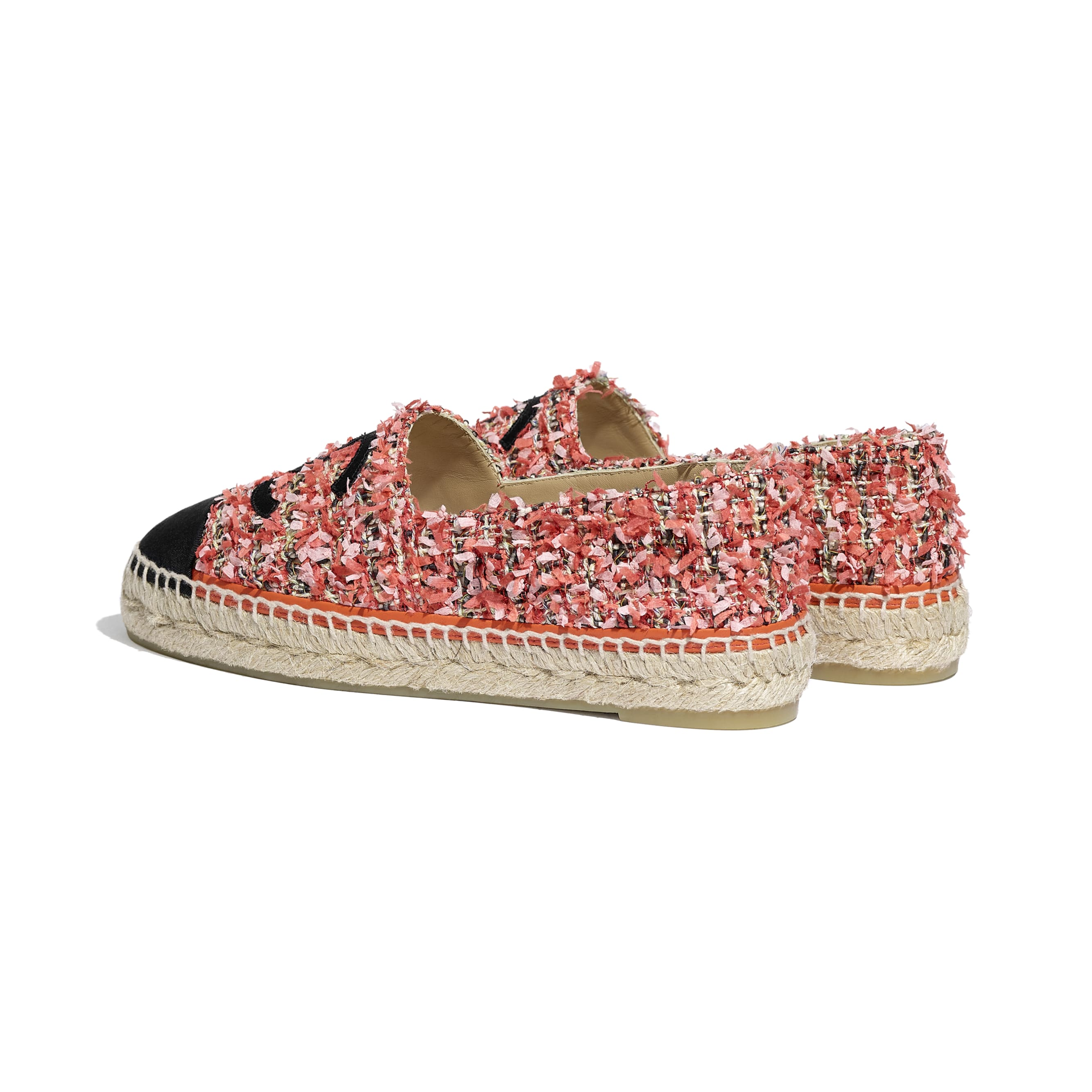 Espadrilles - Coral, Red, Pink & Black - Tweed & Grosgrain - CHANEL - Other view - see standard sized version