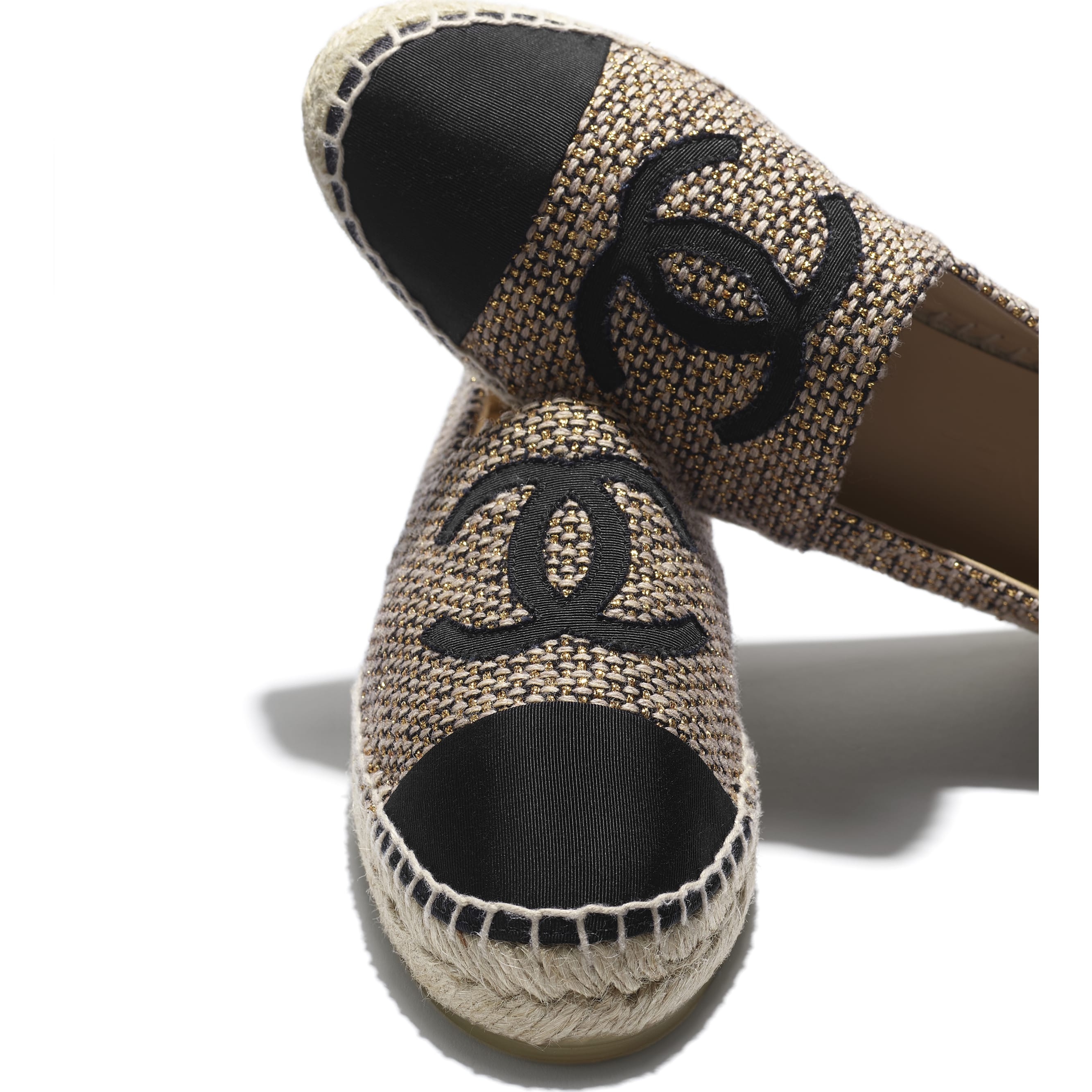 Espadrilles - Gold, Beige & Black - Tweed & Grosgrain - CHANEL - Extra view - see standard sized version