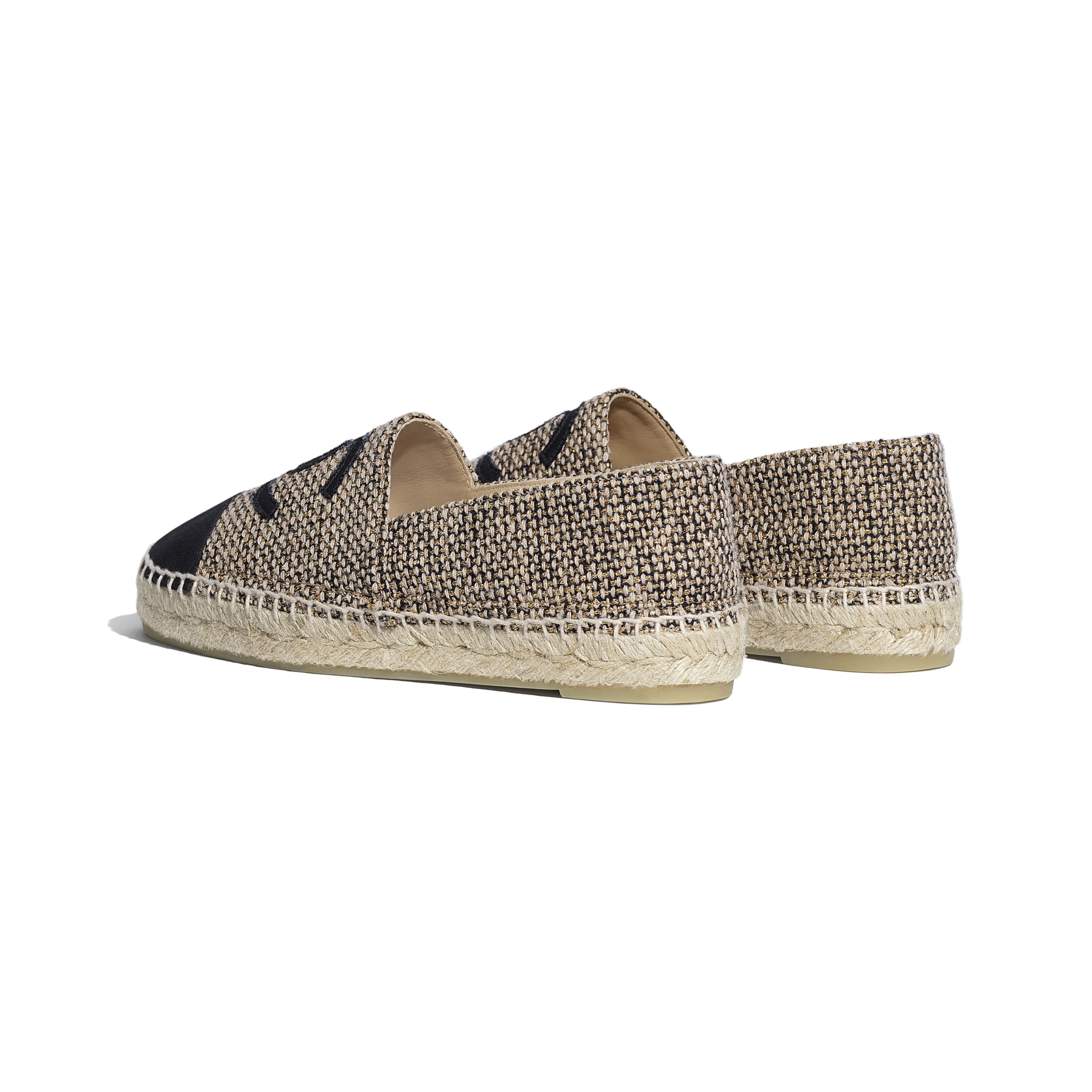 Espadrilles - Gold, Beige & Black - Tweed & Grosgrain - CHANEL - Other view - see standard sized version