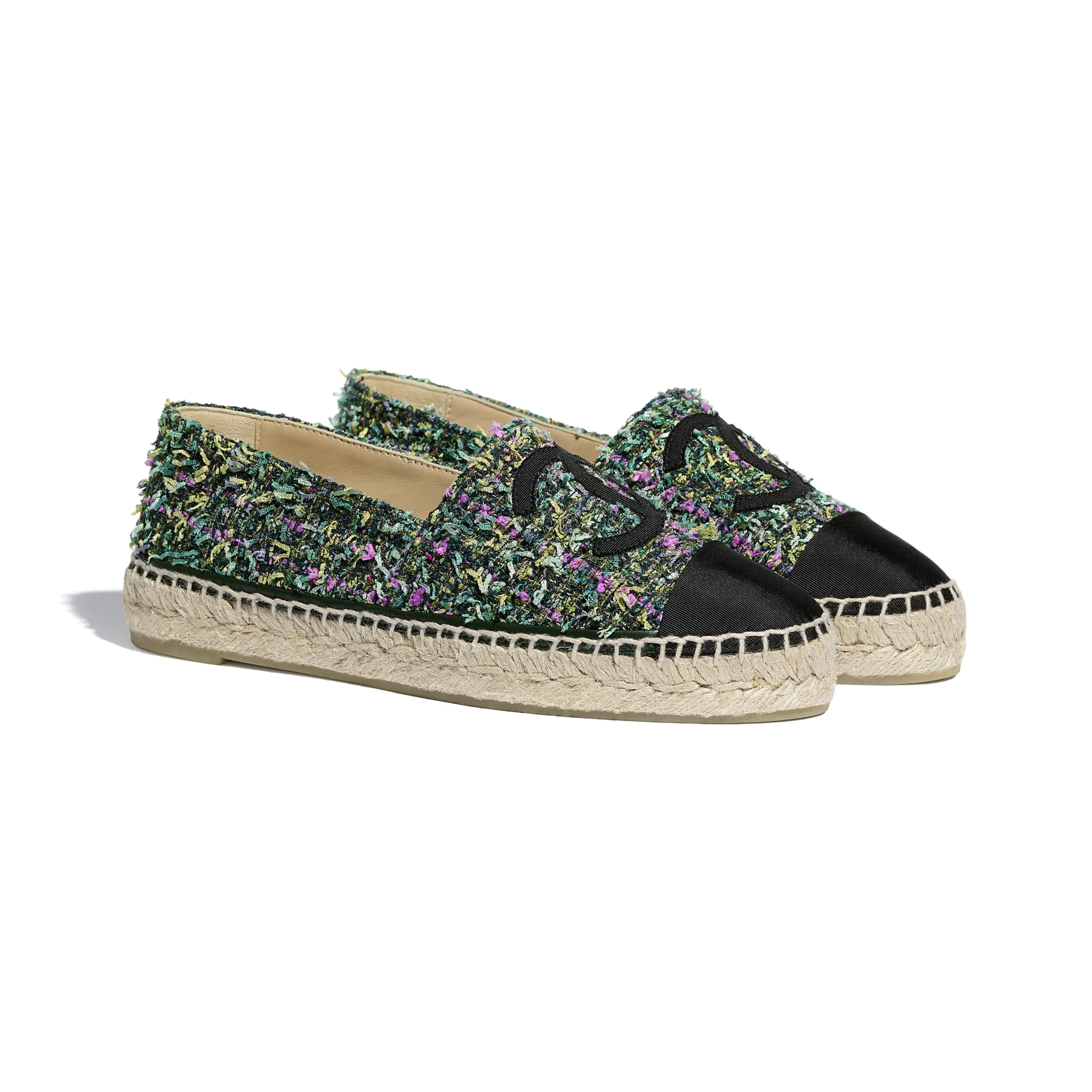 Espadrilles - Green, Pink, Yellow & Black - Tweed & Grosgrain - CHANEL - Alternative view - see standard sized version