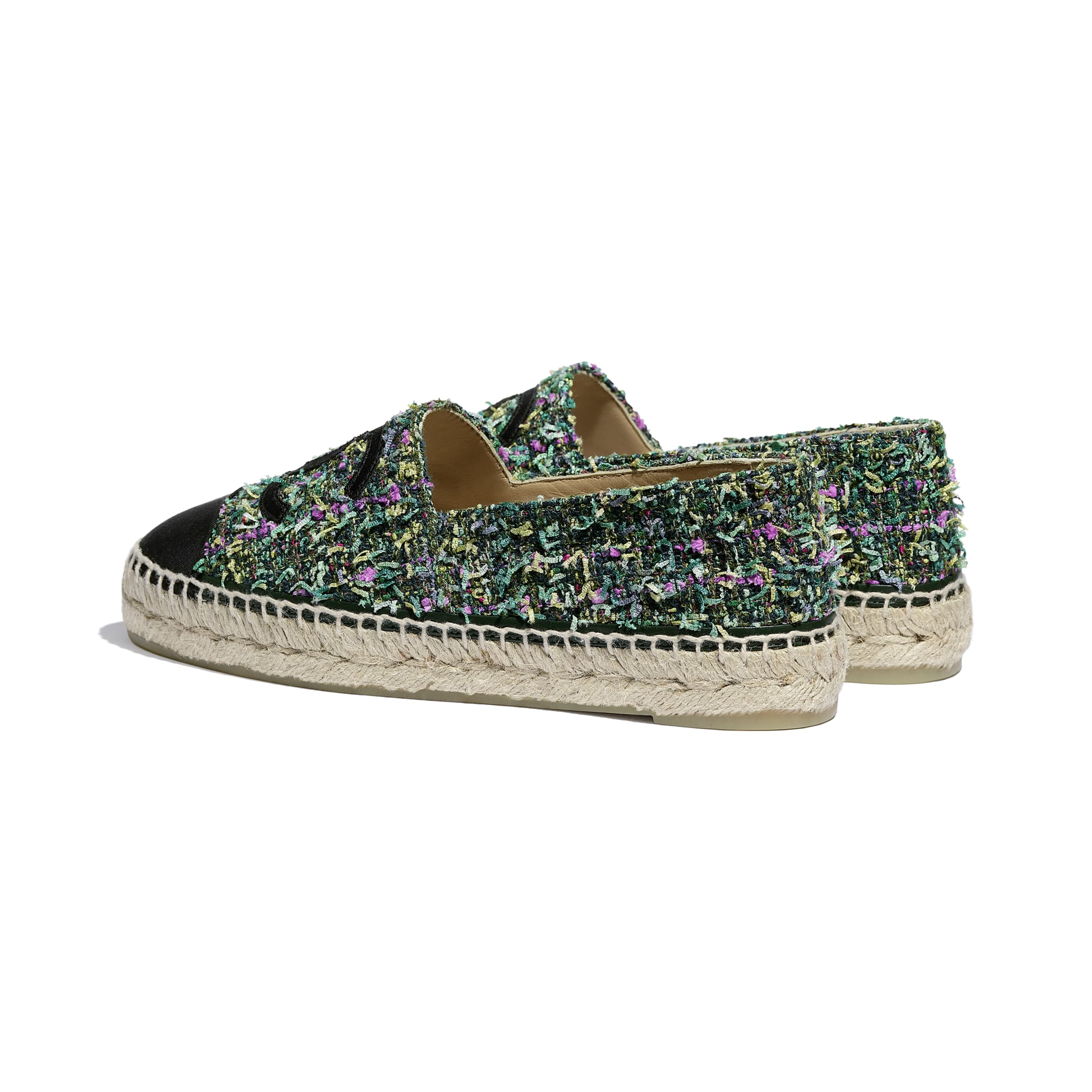 Espadrilles - Green, Pink, Yellow & Black - Tweed & Grosgrain - CHANEL - Other view - see standard sized version