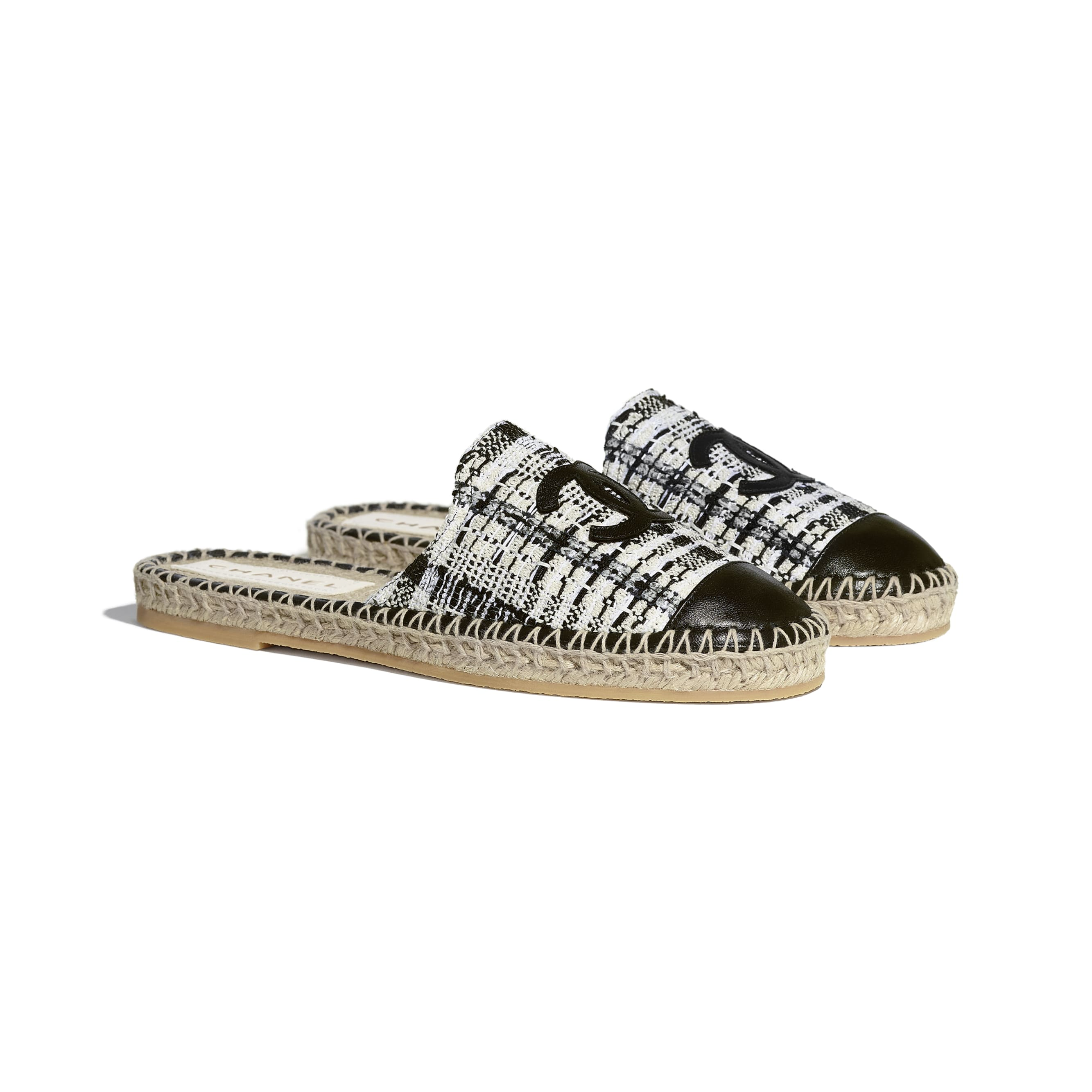 Espadrilles - Ivory, Grey & Black - Tweed & Lambskin - CHANEL - Alternative view - see standard sized version