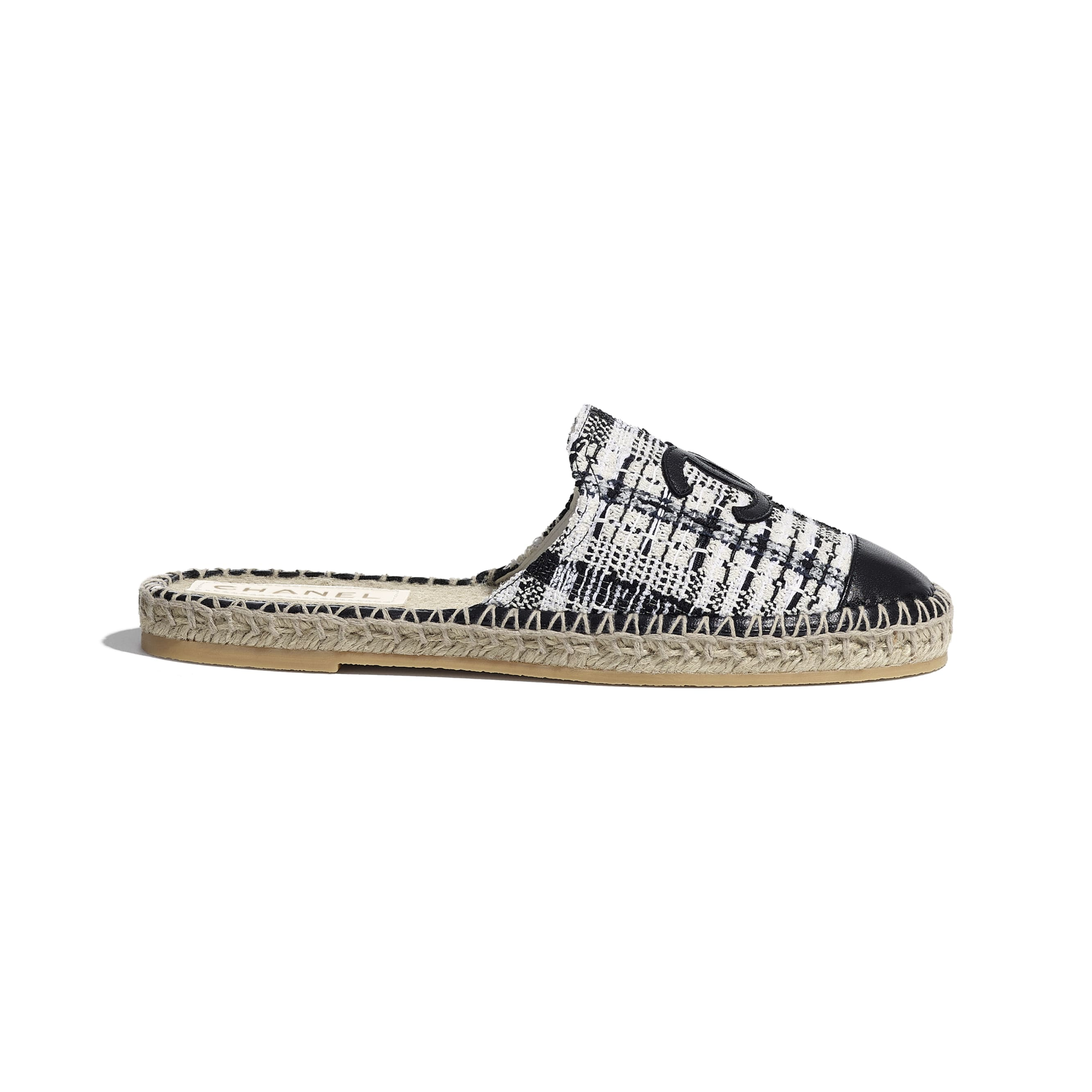 Espadrilles - Ivory, Grey & Black - Tweed & Lambskin - CHANEL - Default view - see standard sized version