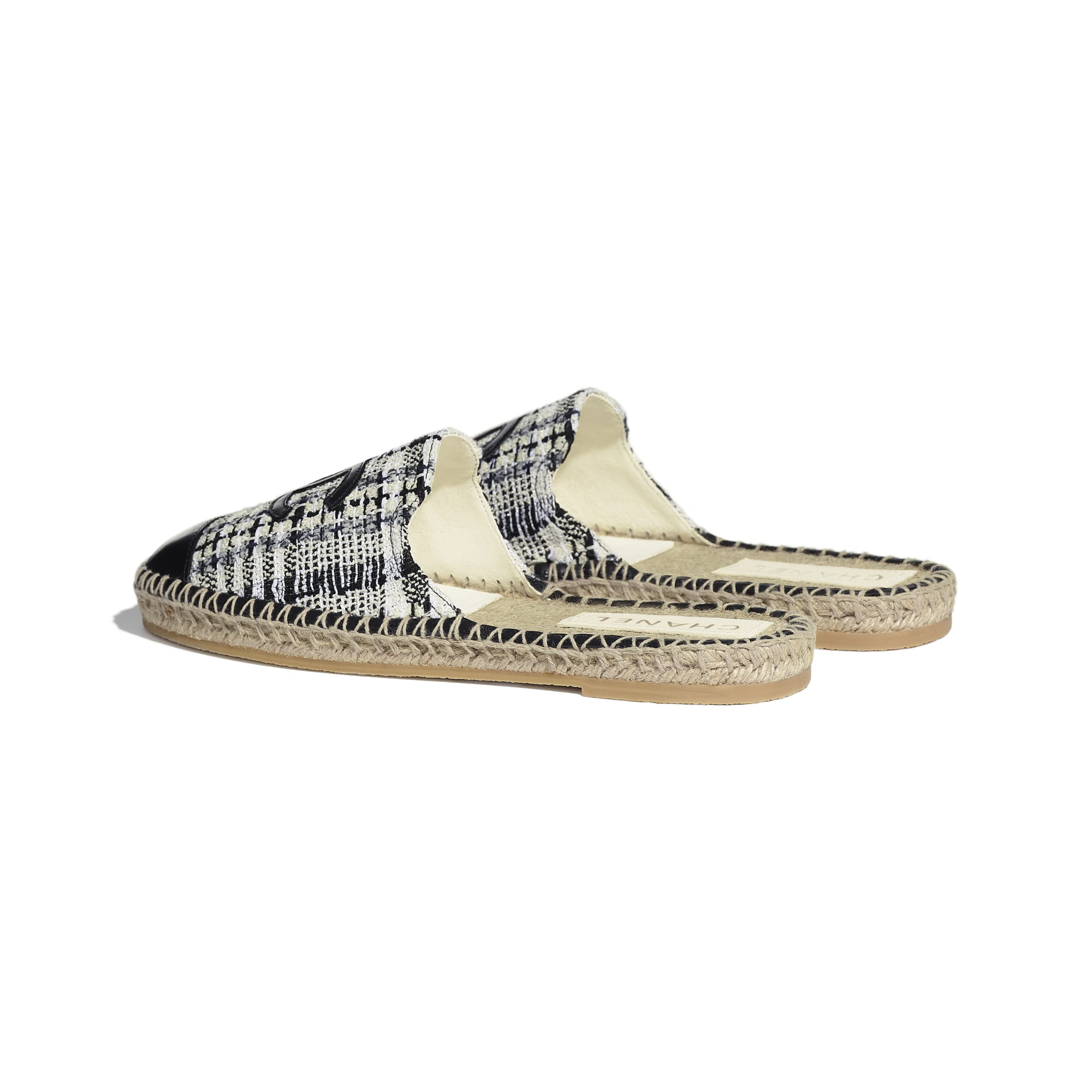 Espadrilles - Ivory, Grey & Black - Tweed & Lambskin - CHANEL - Other view - see standard sized version