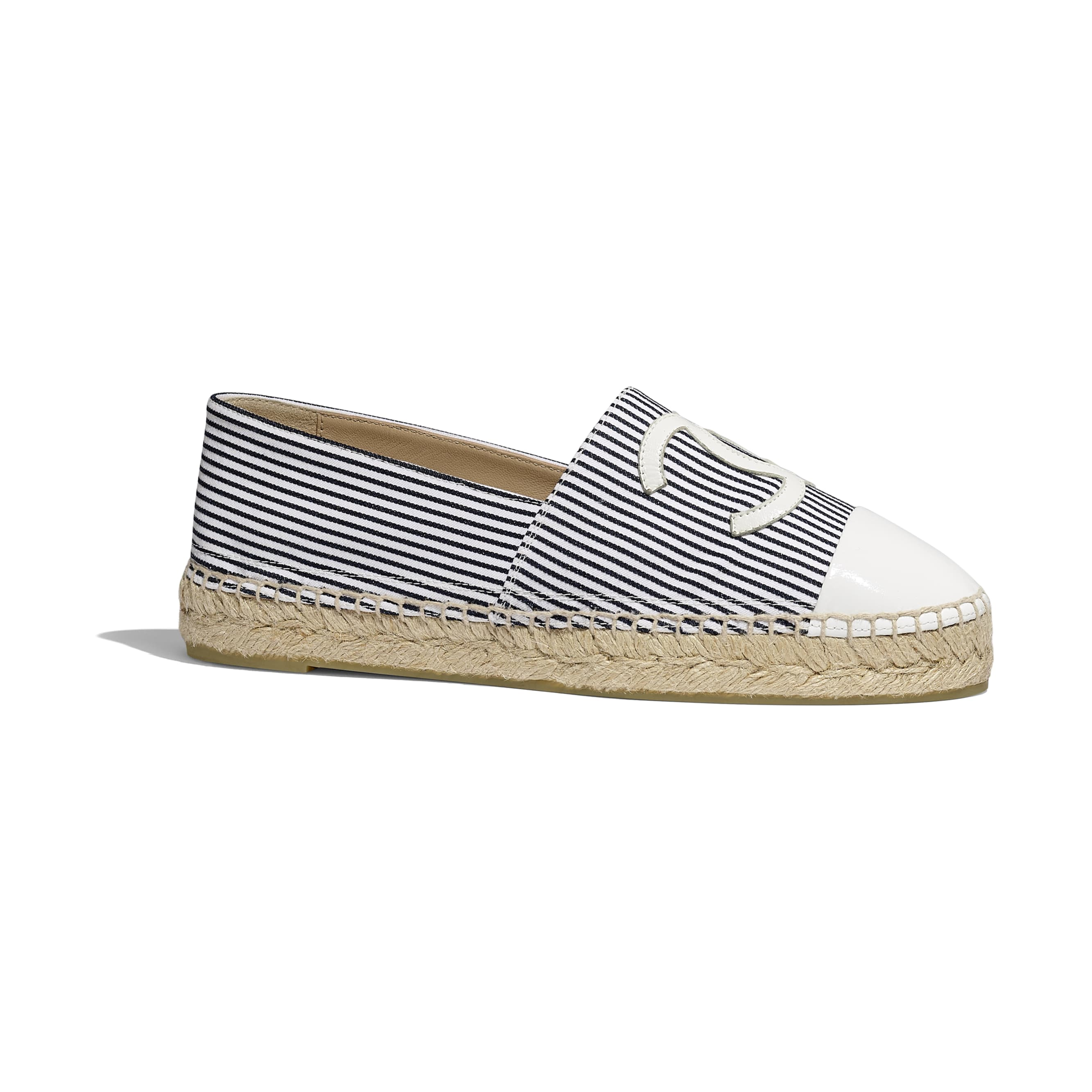 Espadrilles - Navy Blue, Ivory & White - Tweed & Patent Calfskin - Default view - see standard sized version