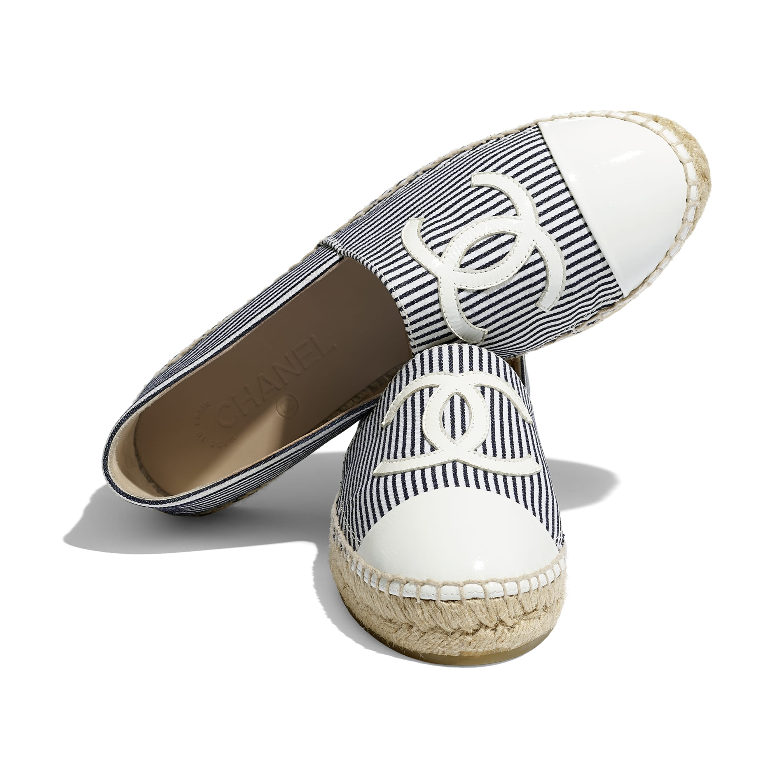 Espadrilles - Navy Blue, Ivory & White - Tweed & Patent Calfskin - Extra view - see standard sized version