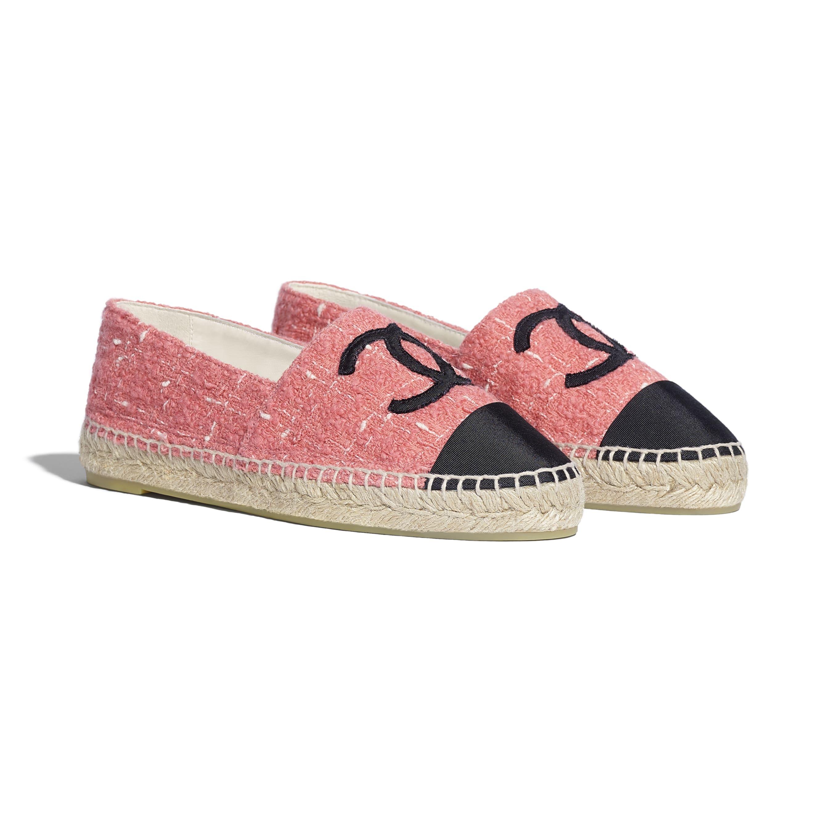 Espadrilles - Pink & Black - Tweed & Grosgrain - CHANEL - Alternative view - see standard sized version