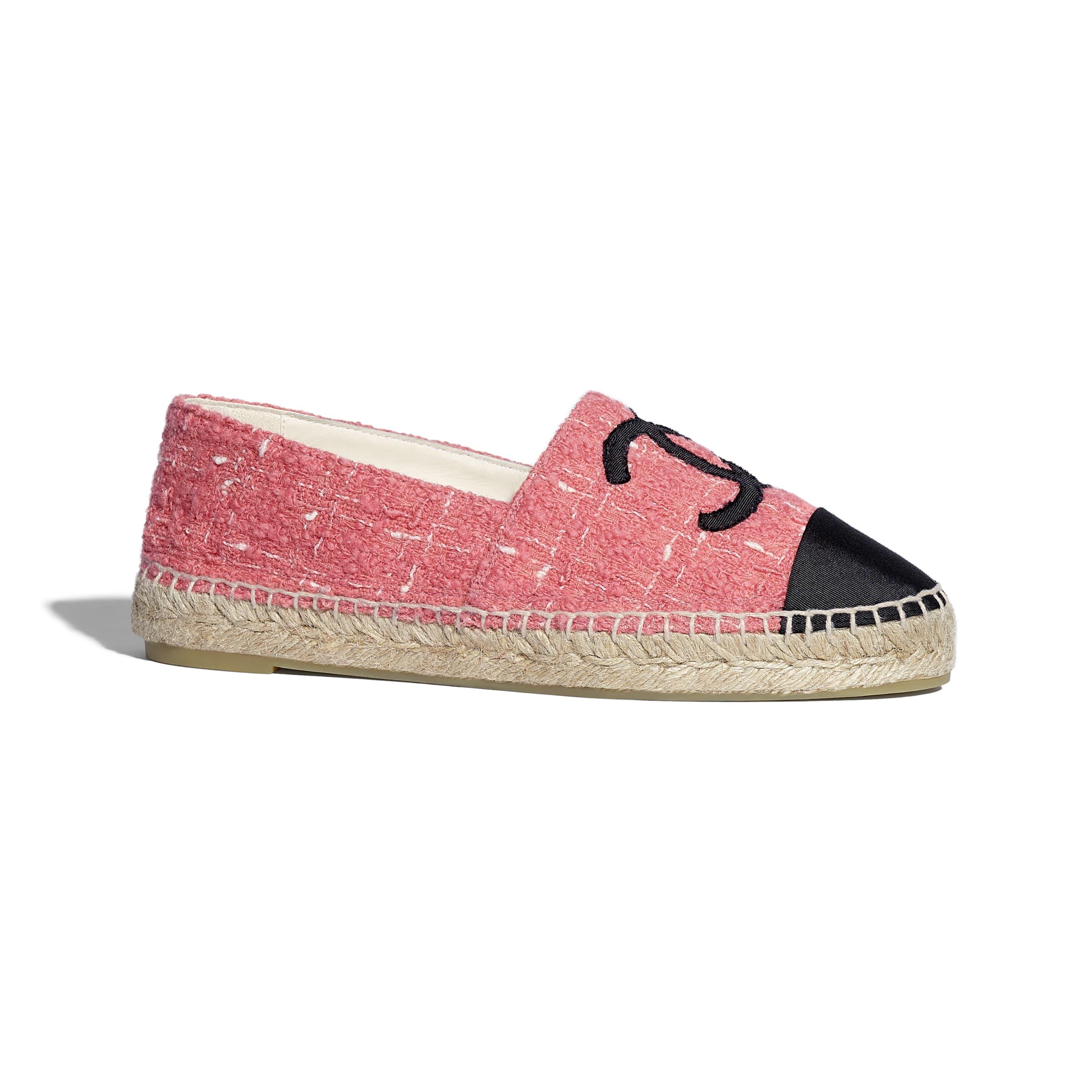 Espadrilles - Pink & Black - Tweed & Grosgrain - CHANEL - Default view - see standard sized version