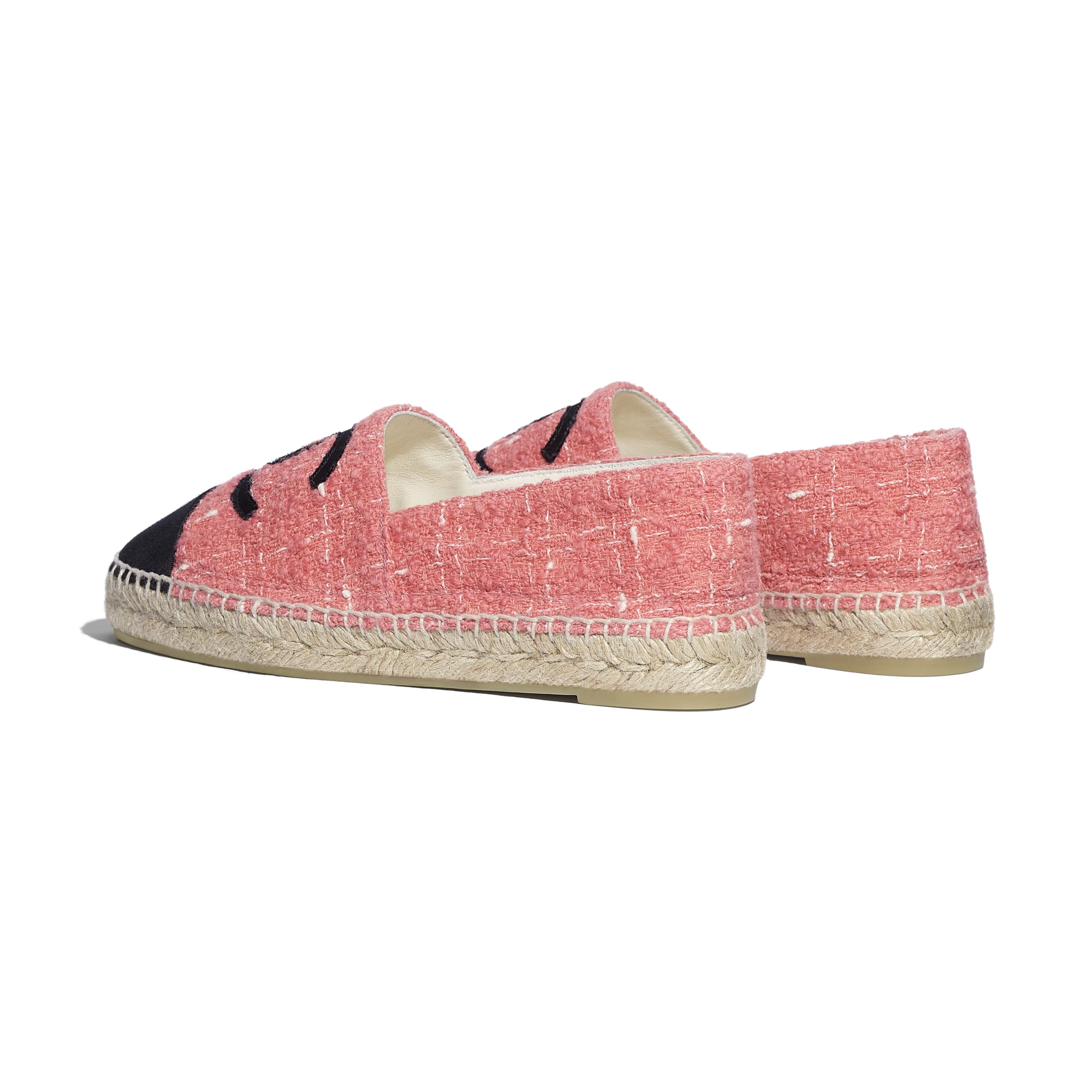 Espadrilles - Pink & Black - Tweed & Grosgrain - CHANEL - Other view - see standard sized version