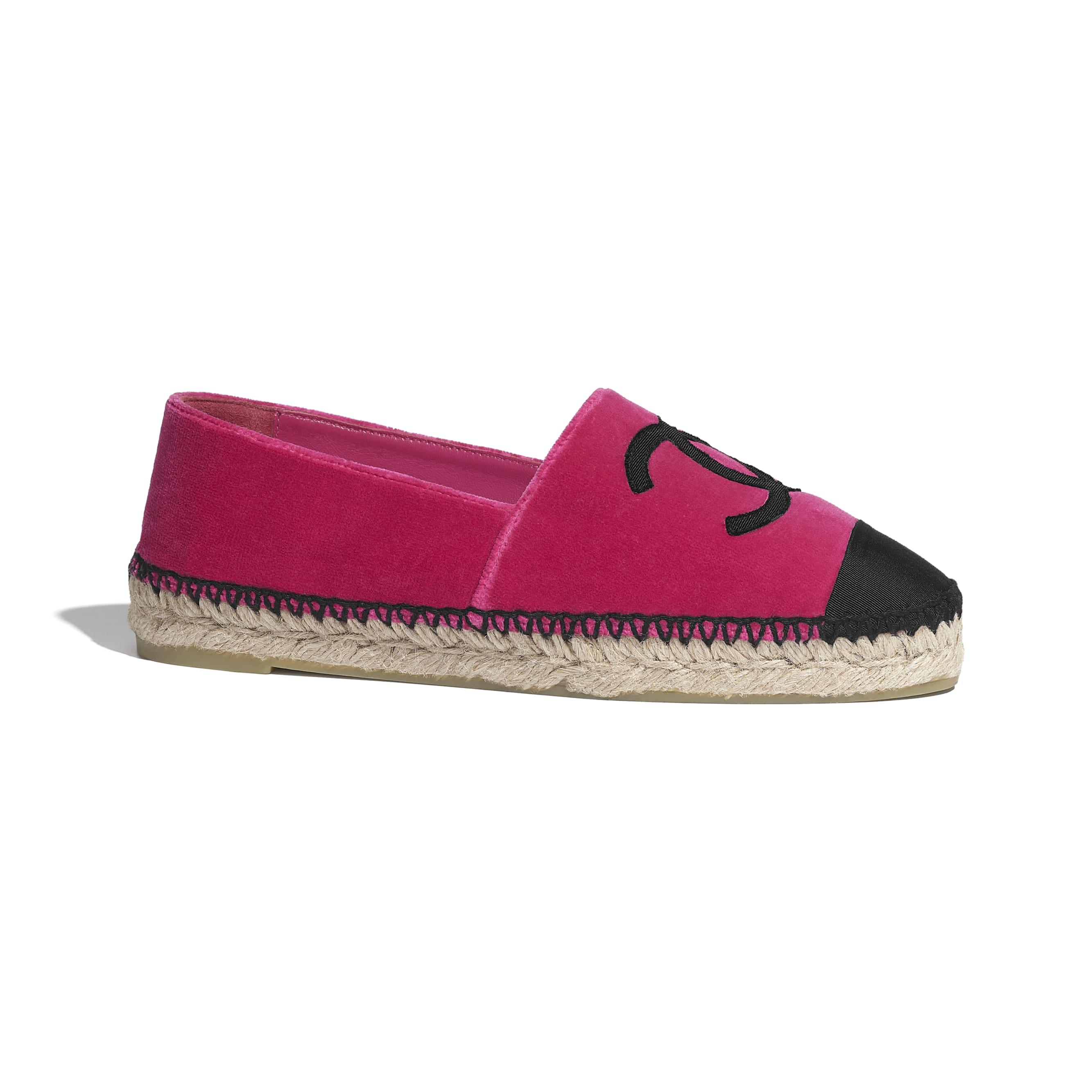 รองเท้าเอสพาดริลล์ - สีชมพูและสีดำ - CHANEL - มุมมองปัจจุบัน - ดูเวอร์ชันขนาดมาตรฐาน