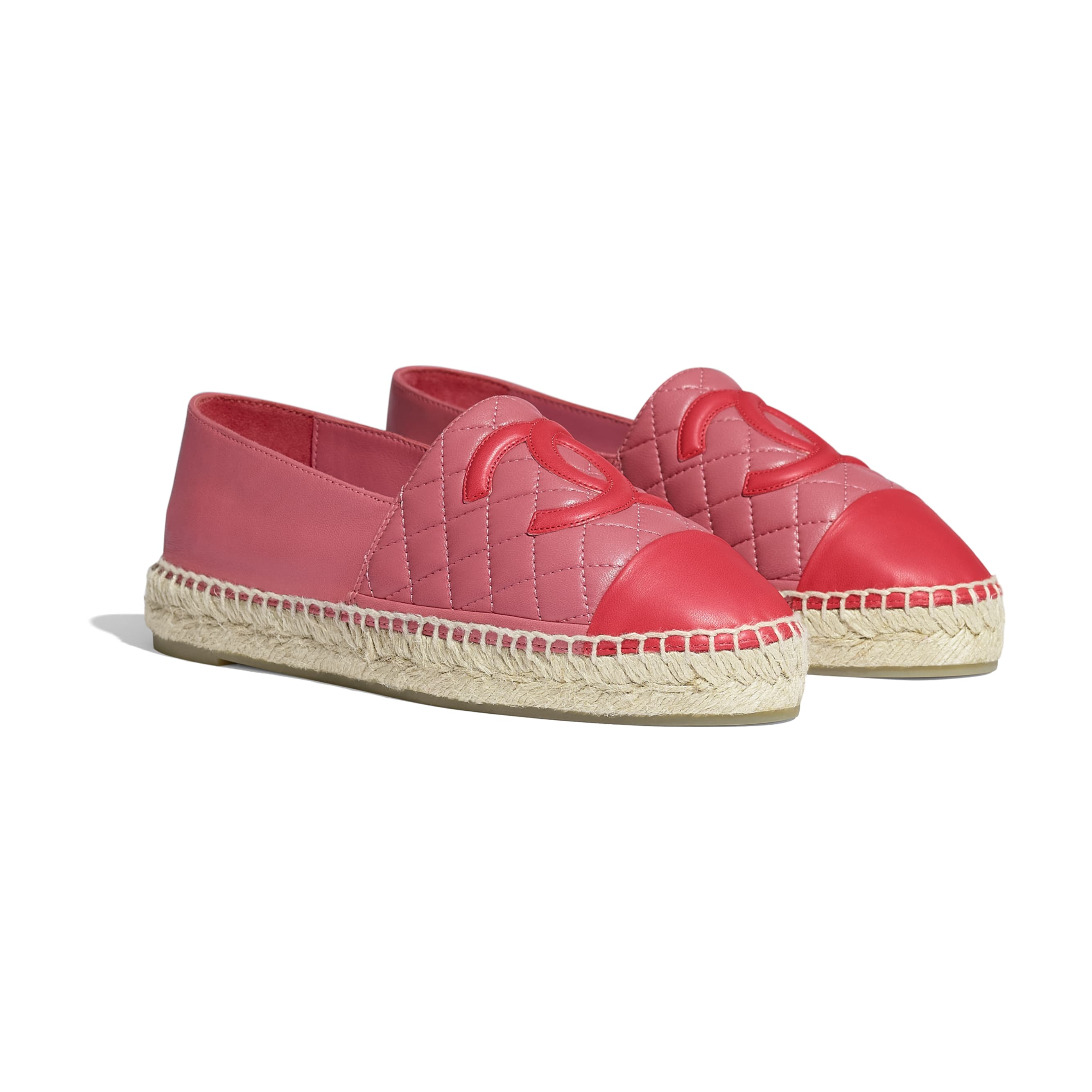 Espadrilles - Pink & red - Lambskin - CHANEL - Alternative view - see standard sized version