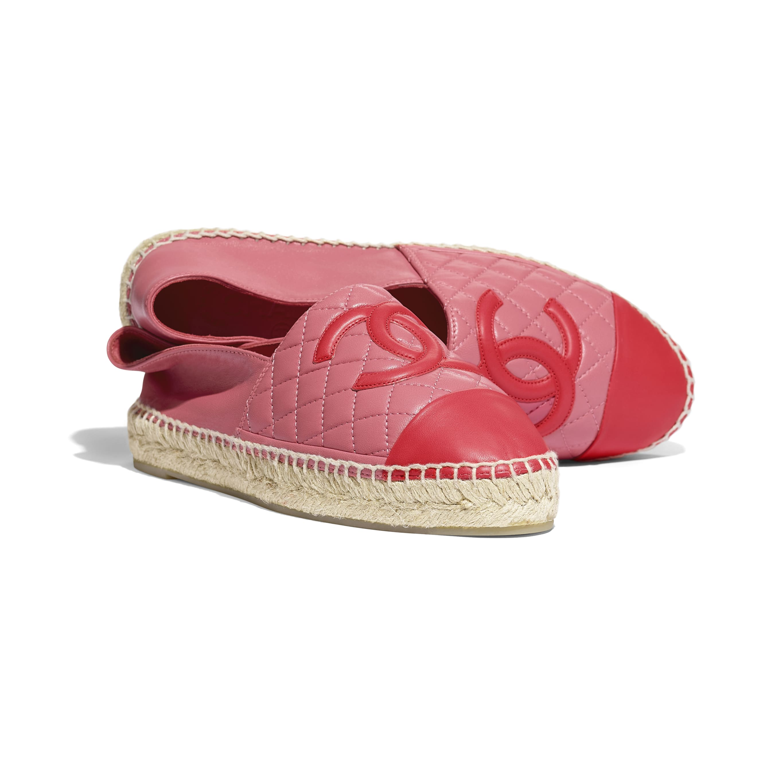Espadrilles - Pink & red - Lambskin - CHANEL - Extra view - see standard sized version