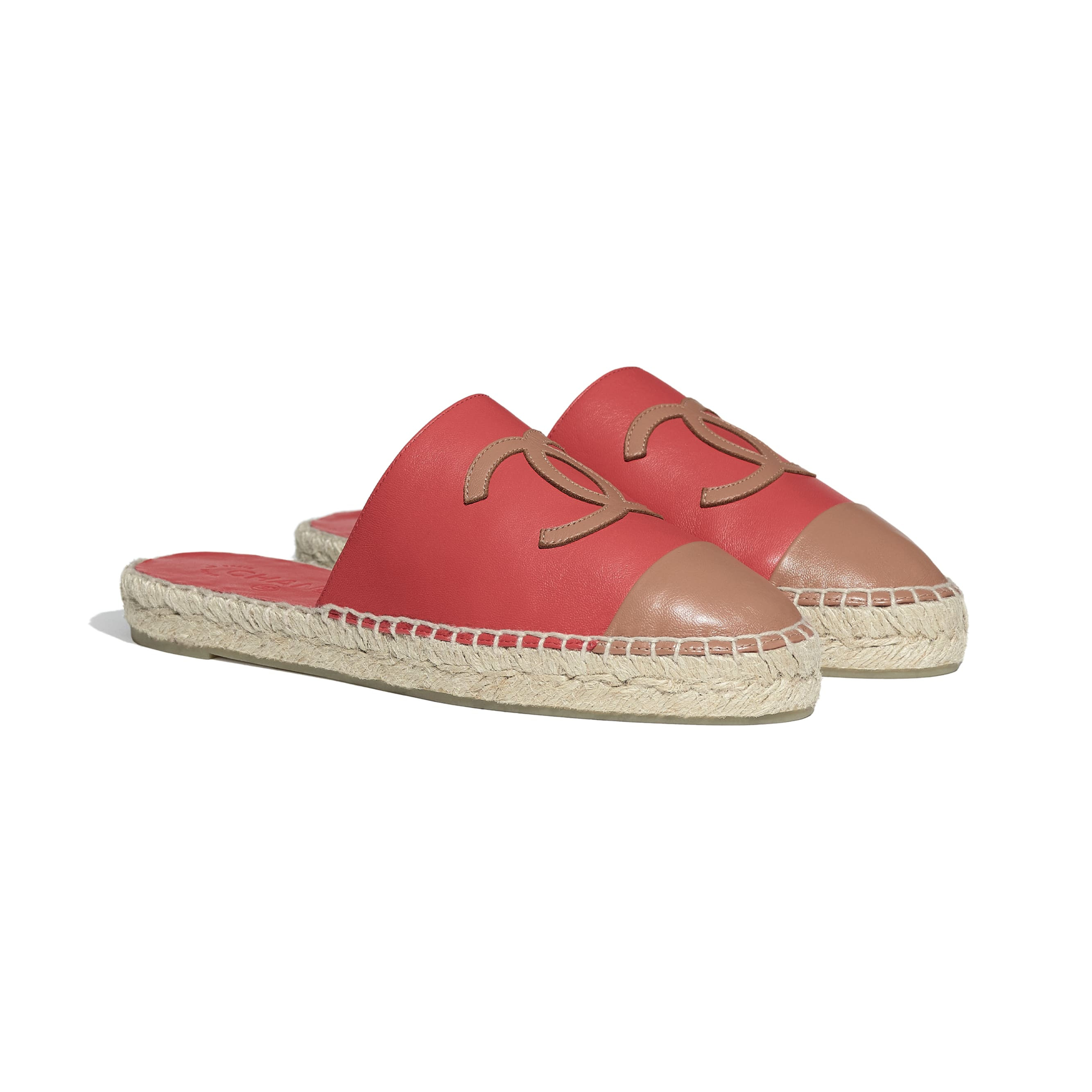 Espadrilles - Red & Brown - Lambskin - CHANEL - Alternative view - see standard sized version