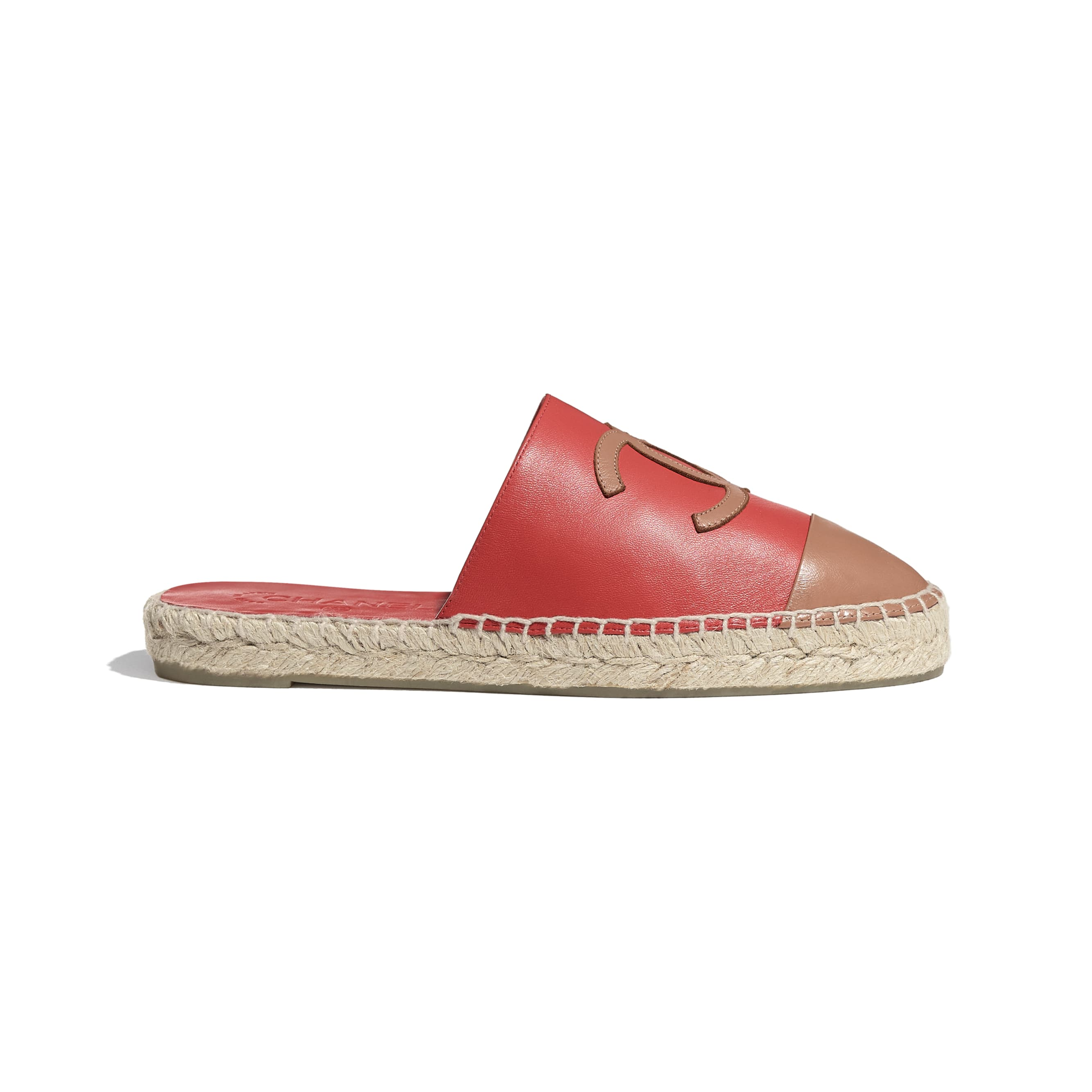 Espadrilles - Red & Brown - Lambskin - CHANEL - Default view - see standard sized version