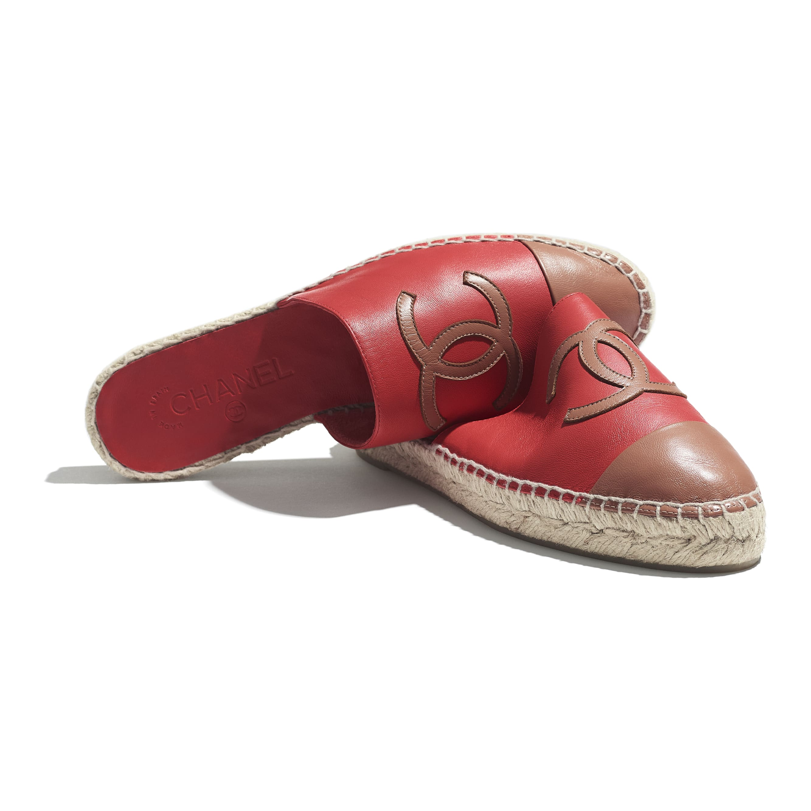 Espadrilles - Red & Brown - Lambskin - CHANEL - Extra view - see standard sized version