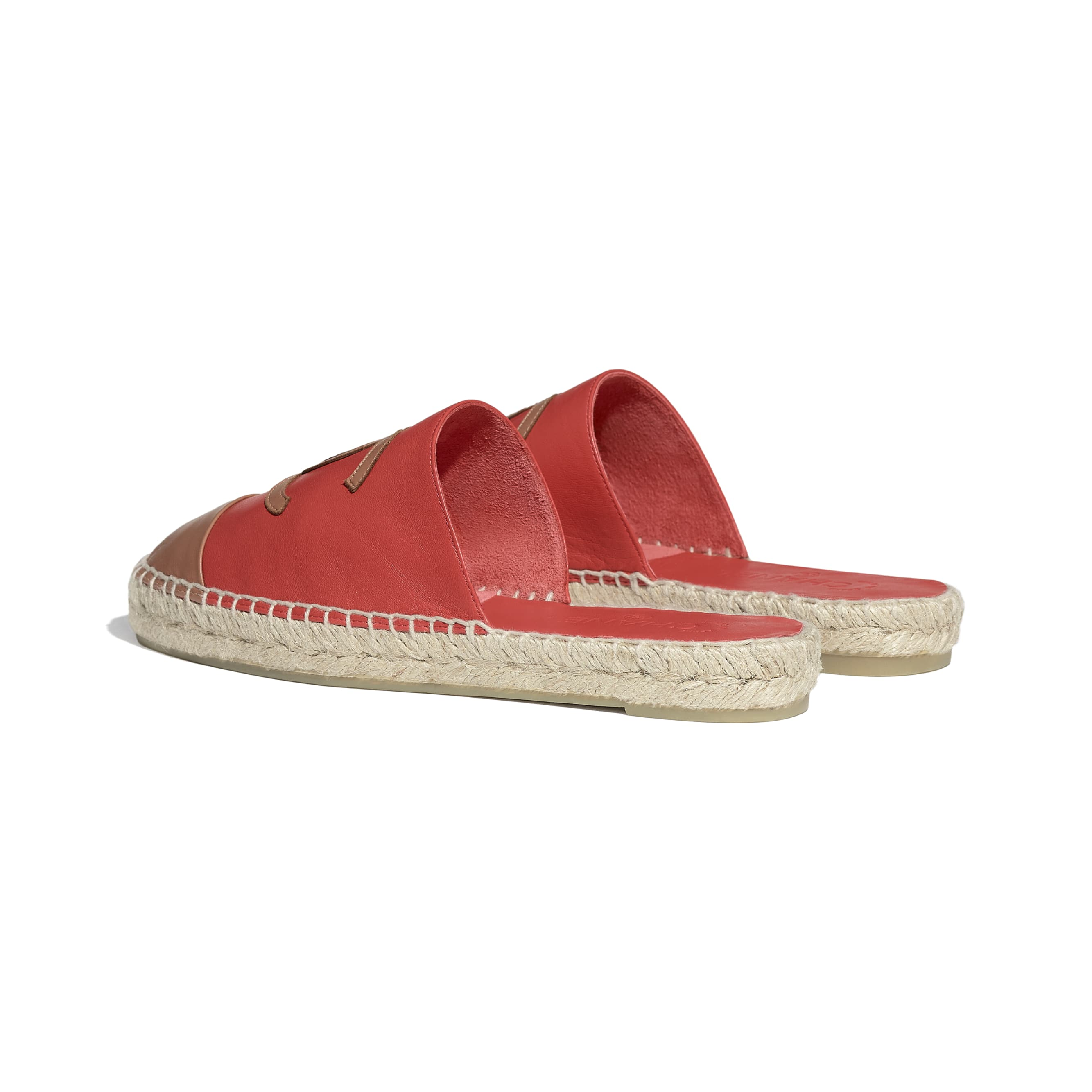 Espadrilles - Red & Brown - Lambskin - CHANEL - Other view - see standard sized version