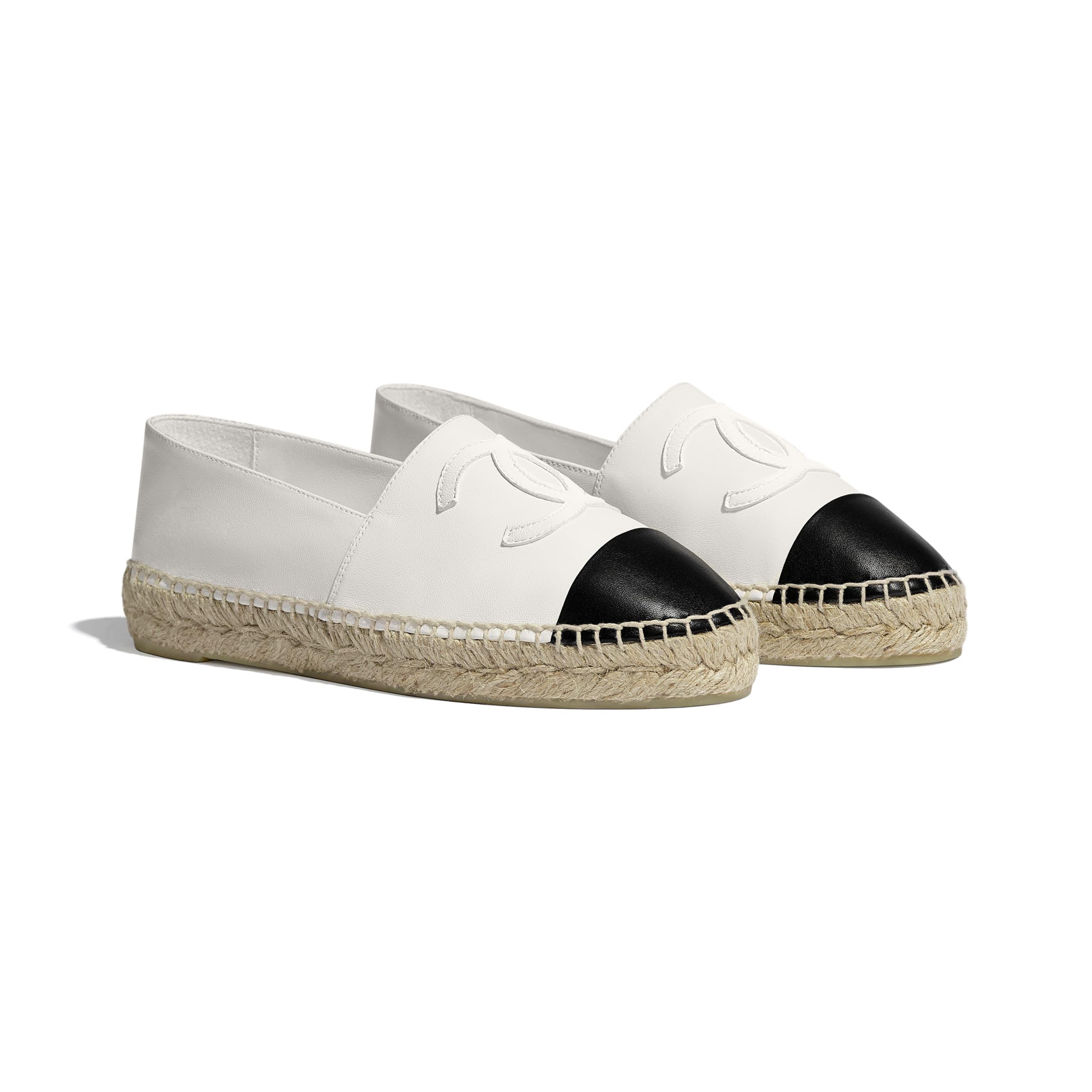 草編鞋 - 白與黑 - 小羊皮 - 替代視圖 - 查看標準尺寸版本