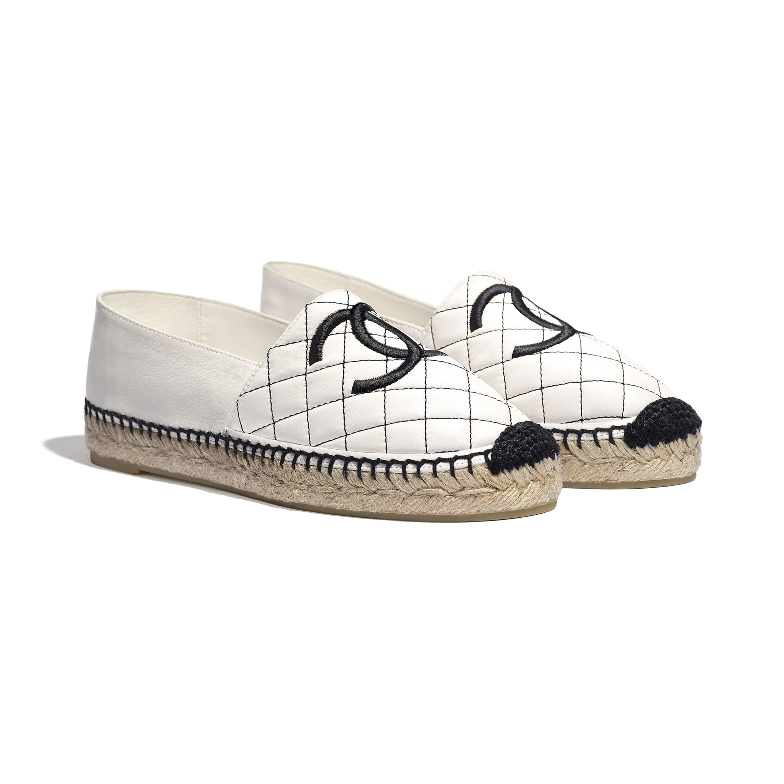 Espadrilles - White & Black - Lambskin - Alternative view - see standard sized version