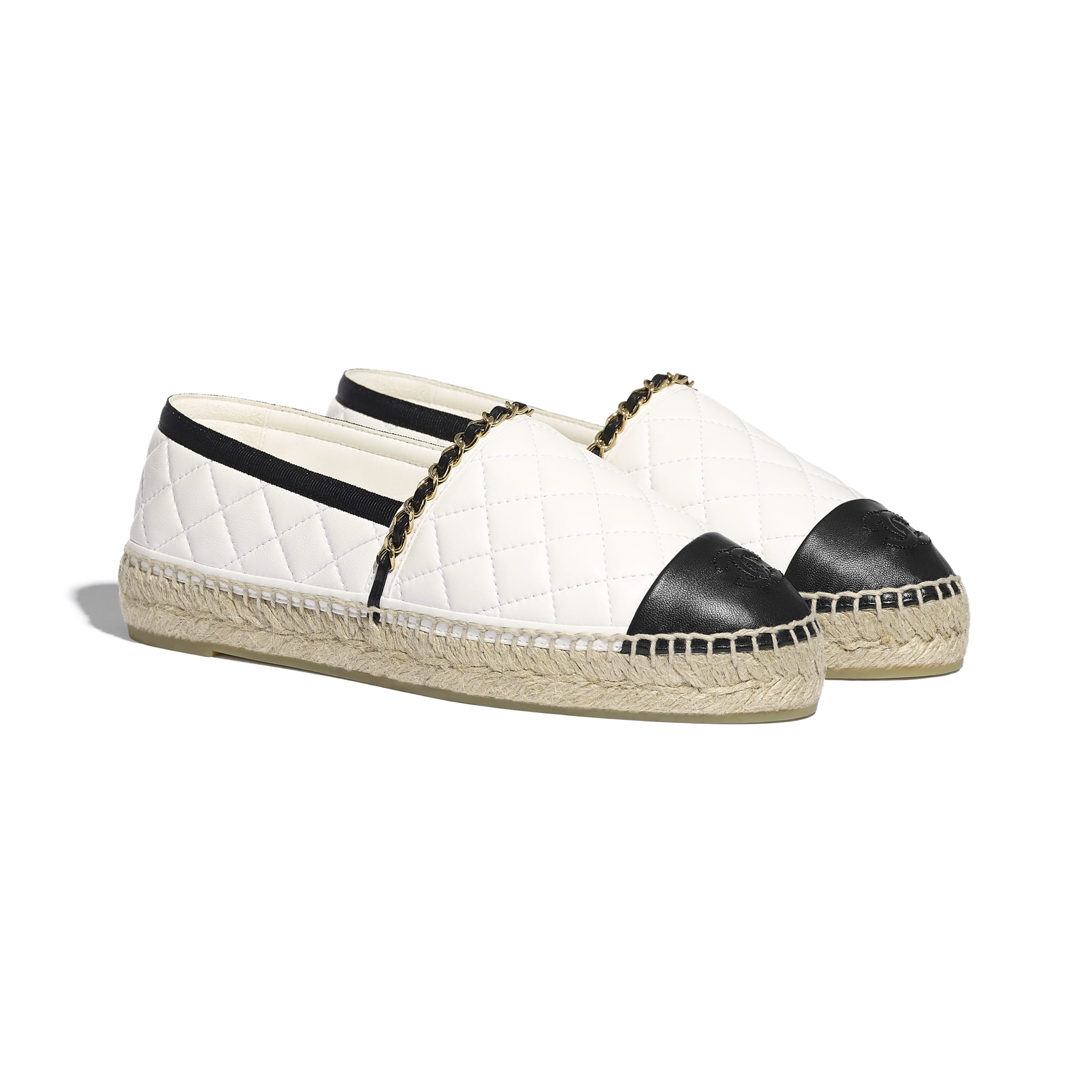 Espadrilles - White & Black - Lambskin - CHANEL - Alternative view - see standard sized version