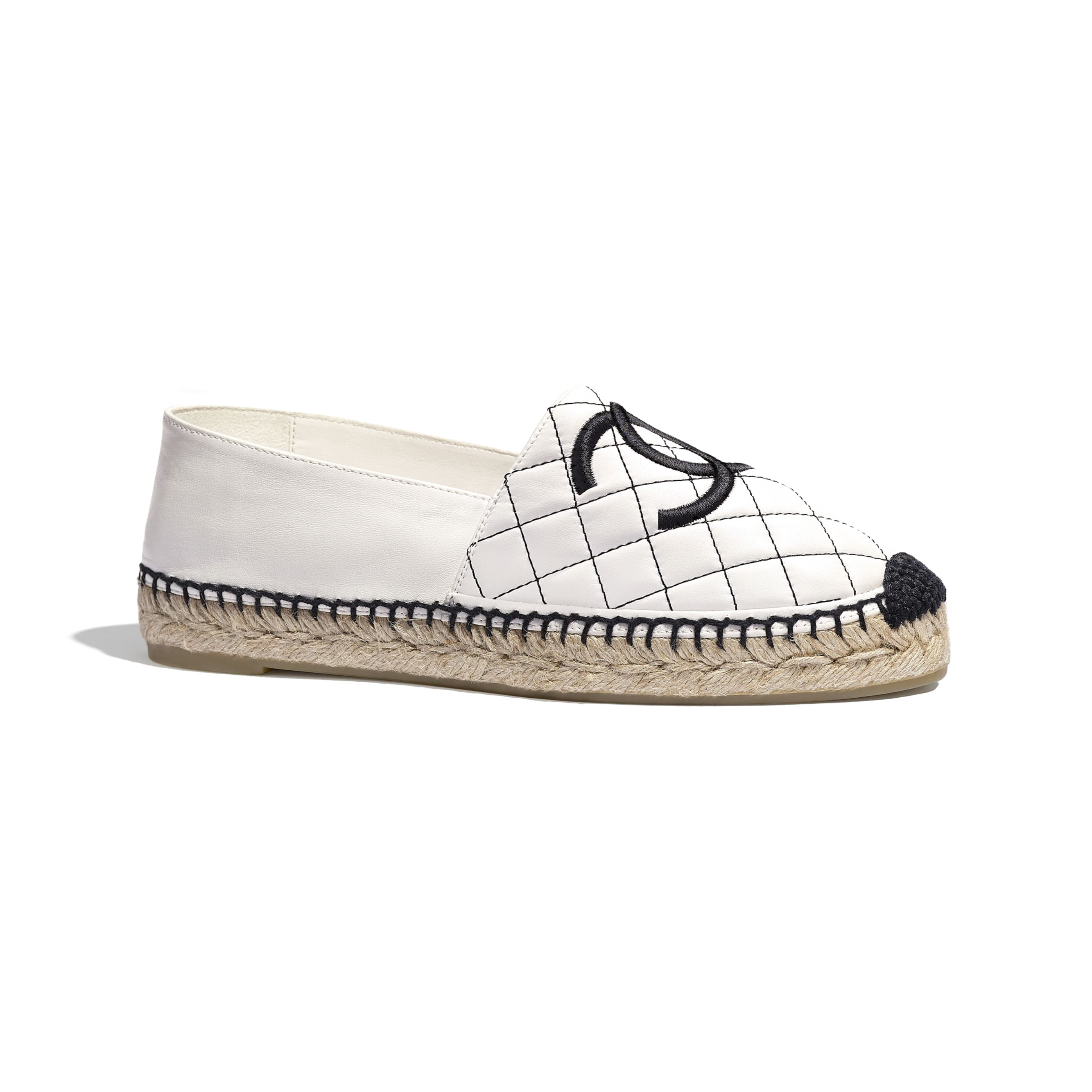 Espadrilles - White & Black - Lambskin - Default view - see standard sized version